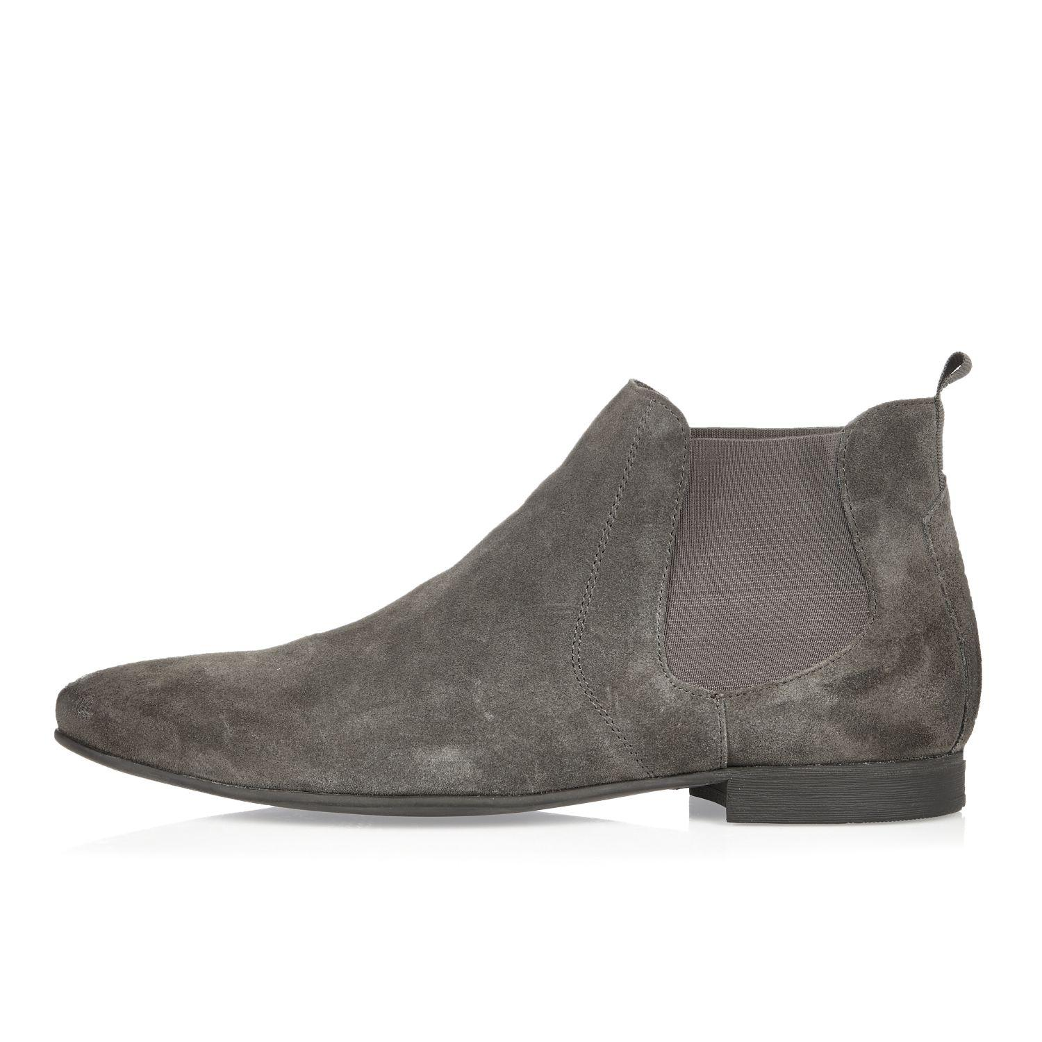 river island grey suede chelsea boots in gray for lyst