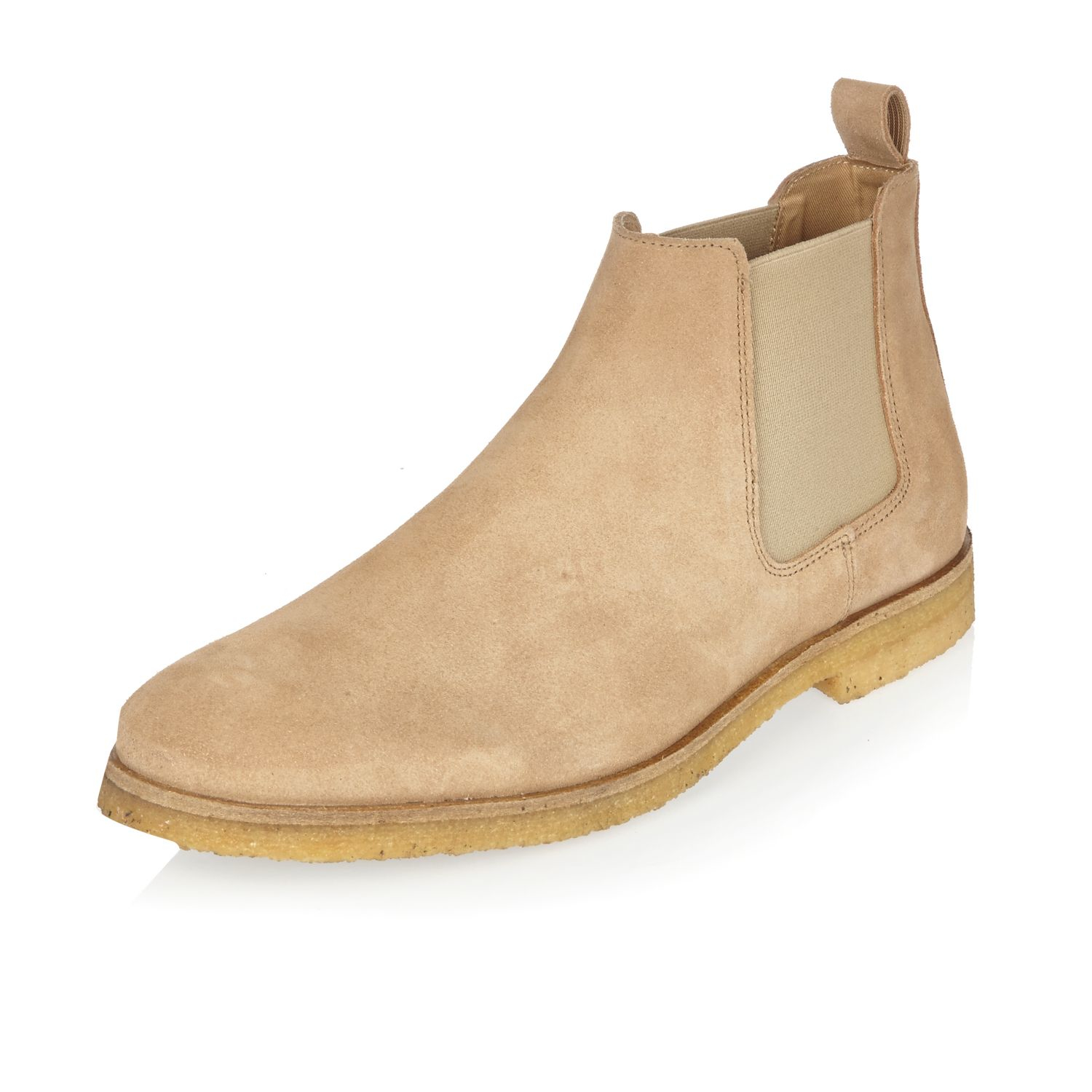 River Island Stone Suede Chelsea Boots In Natural For Men