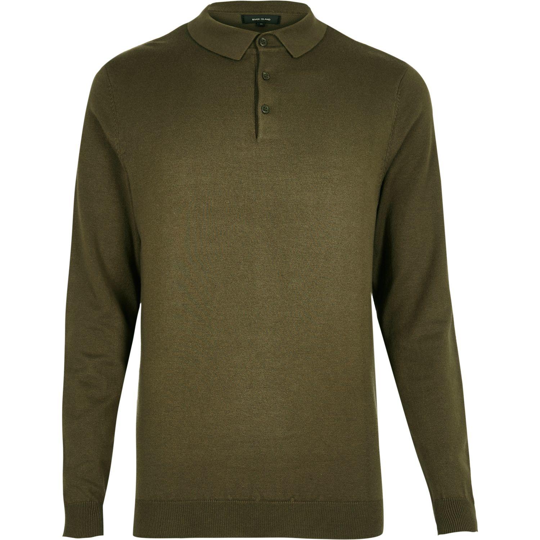 River island khaki long sleeve polo shirt in multicolor for Long sleeve polo shirts for men sale