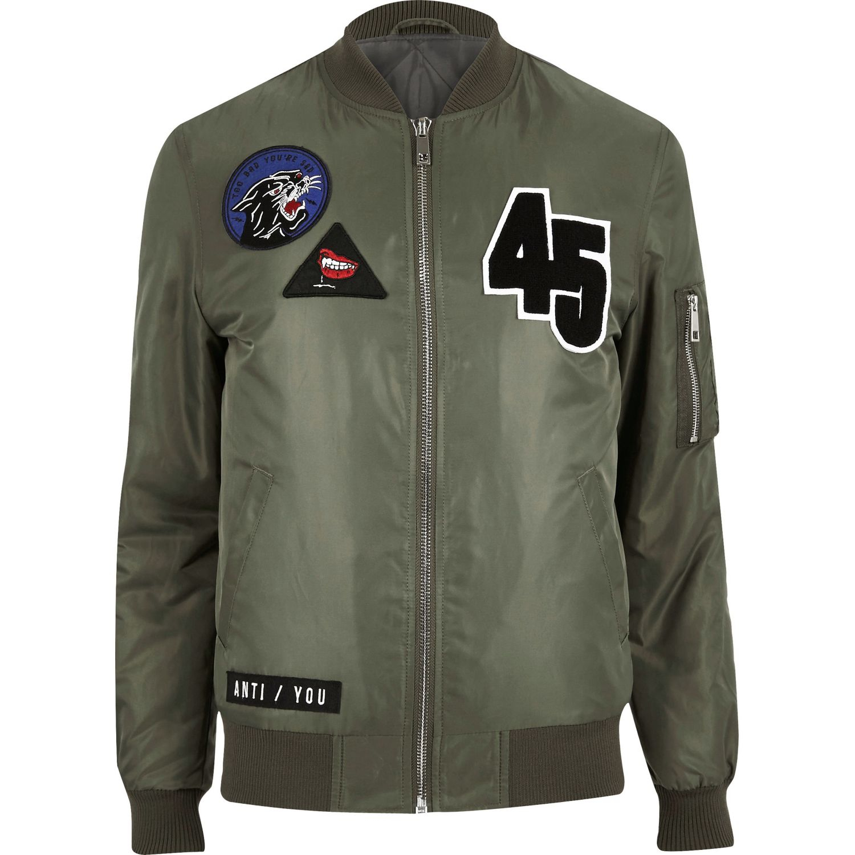 River island men s green badge bomber jacket 163 60 30 from river