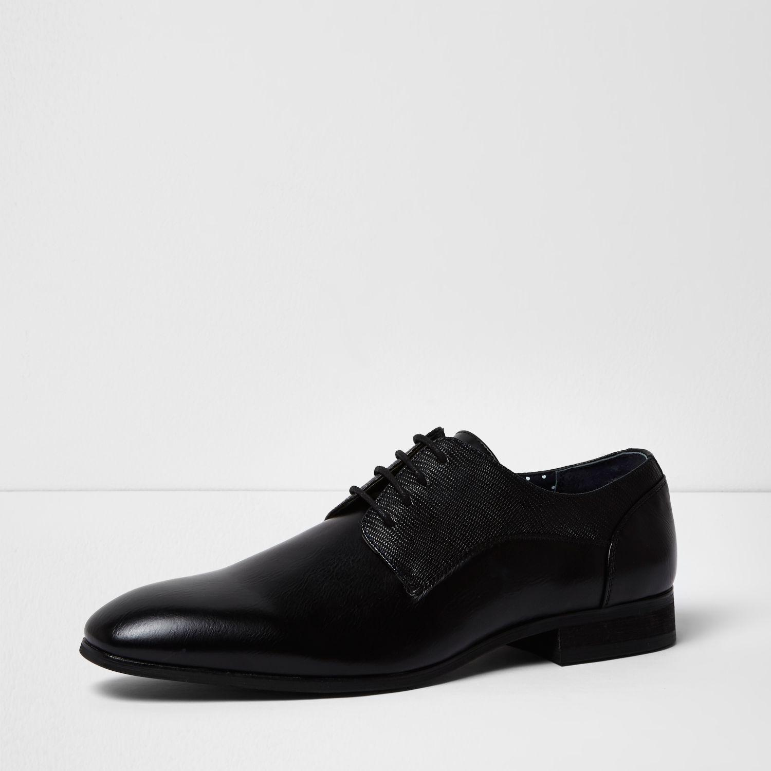 river island black textured formal shoes in black for