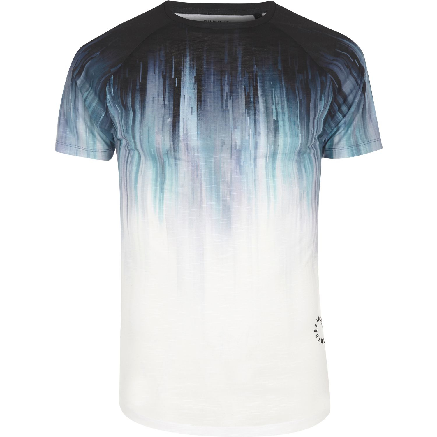 River island white faded print muscle fit t shirt in blue for Faded color t shirts