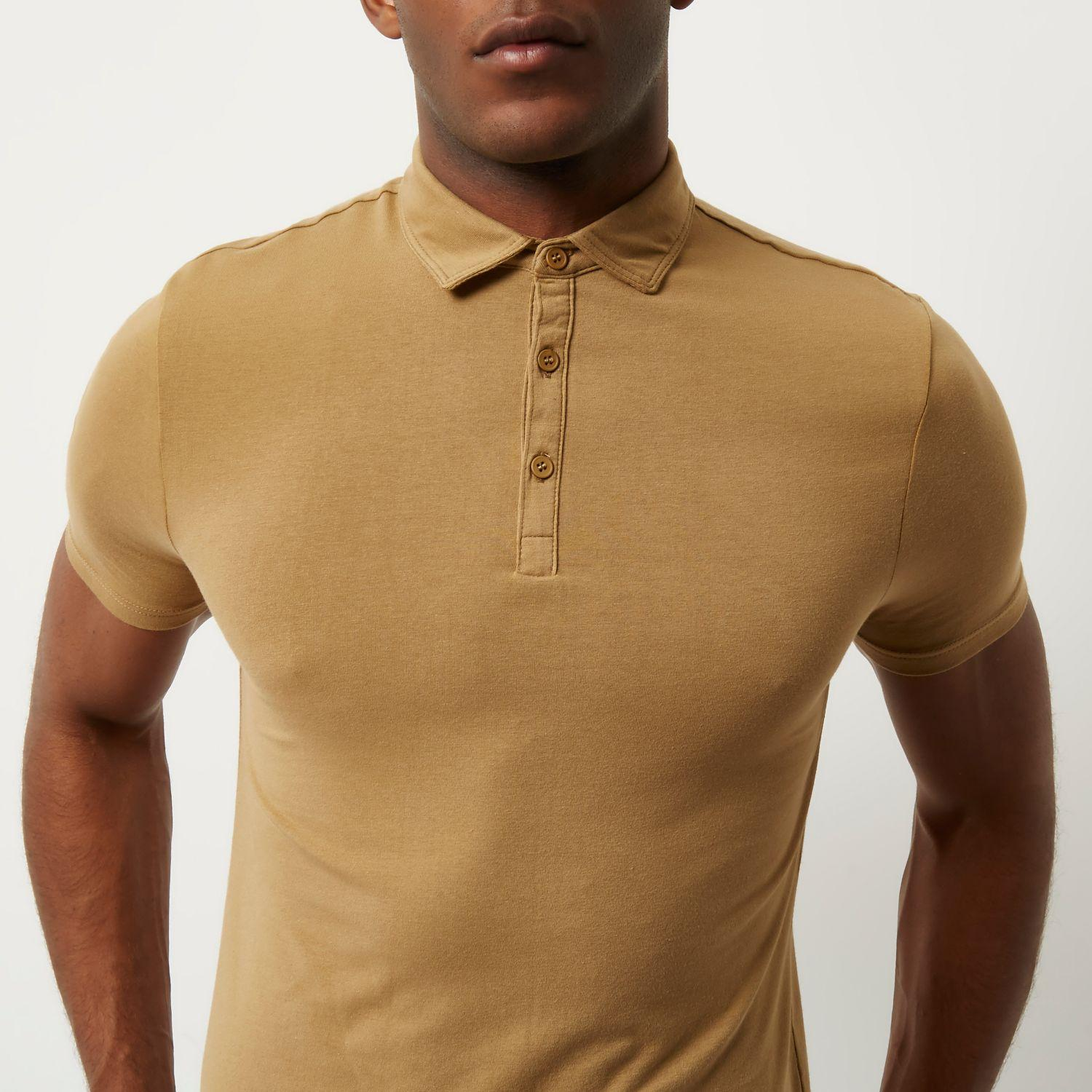 Lyst river island light brown muscle fit polo shirt in for Light brown polo shirt