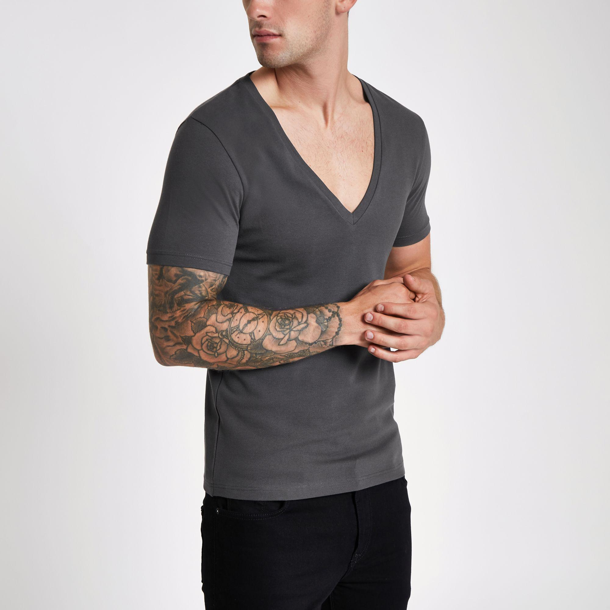 River Island Grey Pique Deep V Neck Muscle Fit T Shirt In Gray For