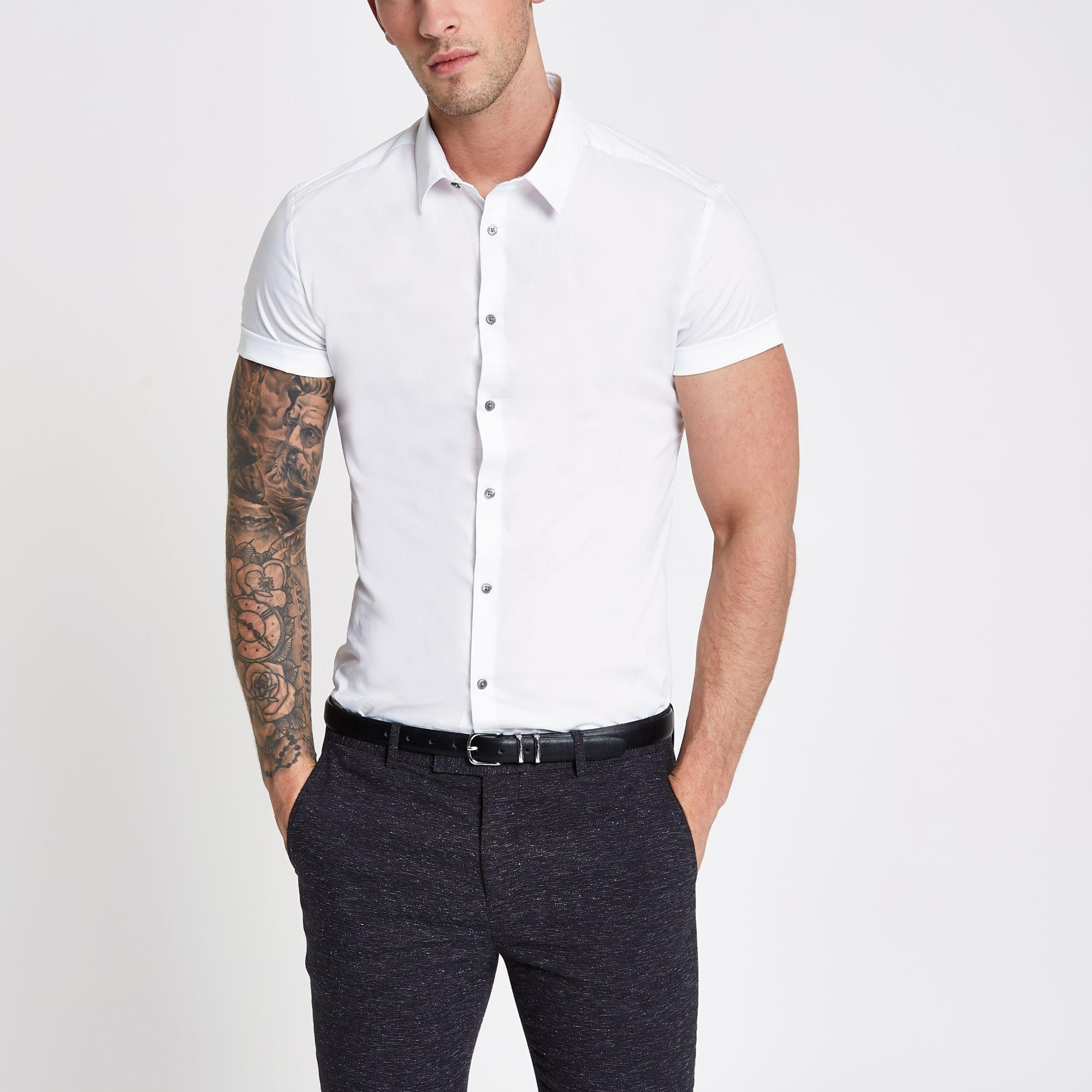55121a4b21 River Island - White Muscle Fit Short Sleeve Shirt for Men - Lyst. View  fullscreen