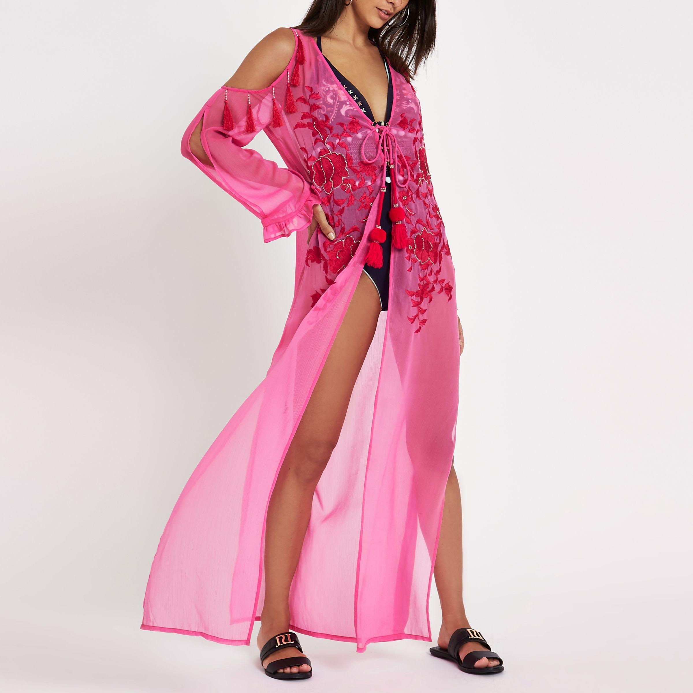 Womens Pink embroidered cold shoulder beach kaftan River Island qjYxI2VAU