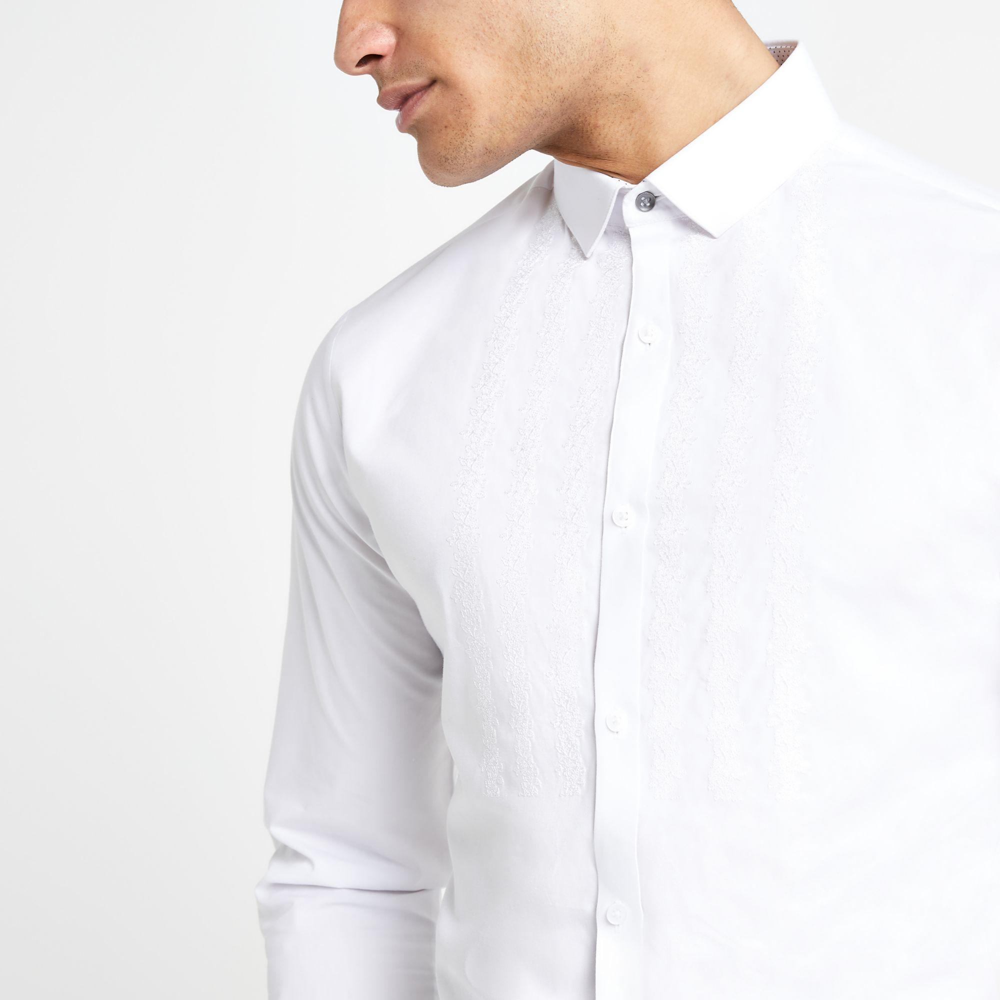 5f5eda60c9 Lyst - River Island Embroidered Long Sleeve Shirt in White for Men
