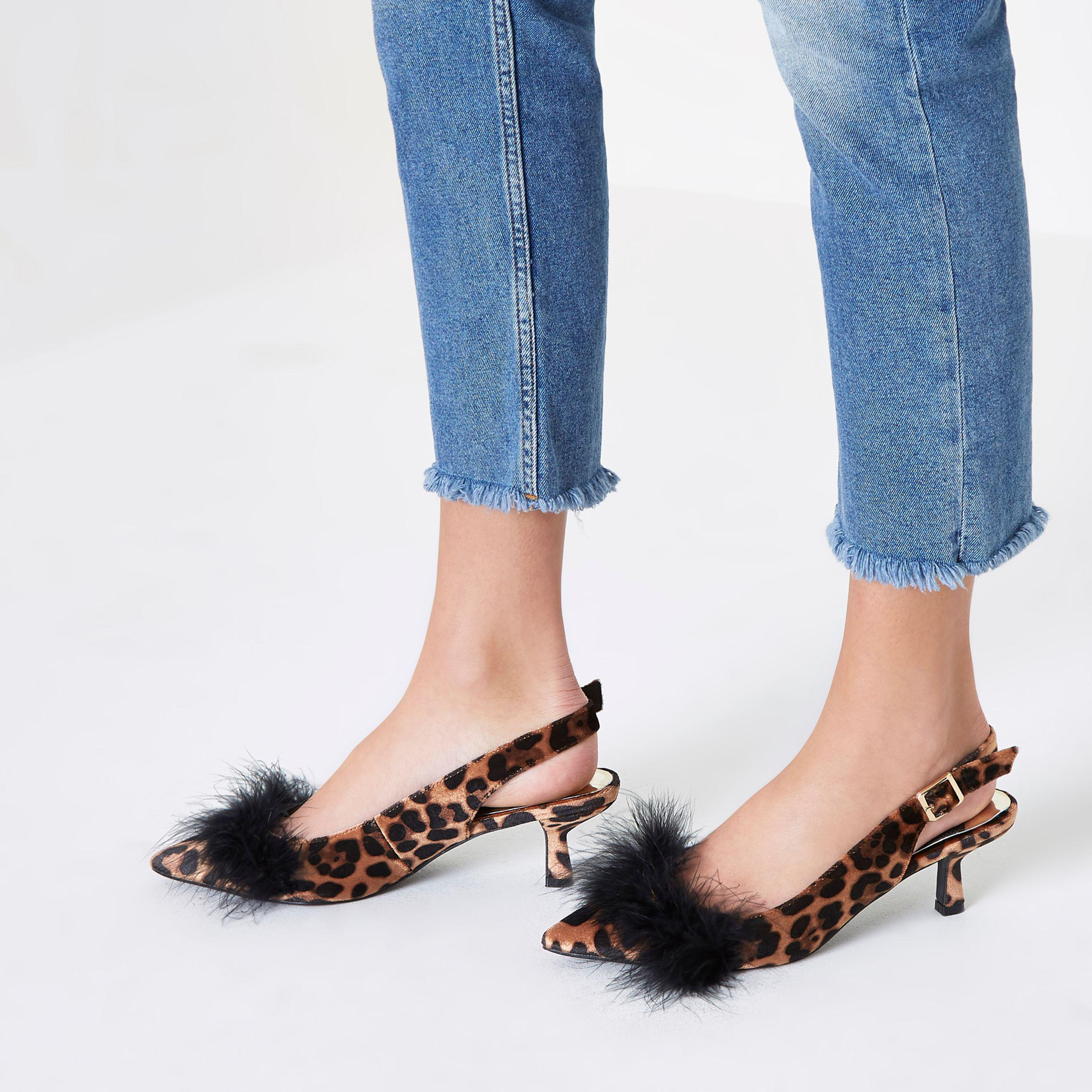 74293b4b1e2e River Island Brown Leopard Print Slingback Kitten Heels in Brown - Lyst