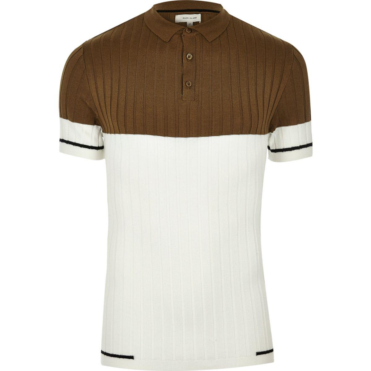 From China Online Marketable For Sale Mens Brown crane print muscle fit polo shirt River Island MBbXwt