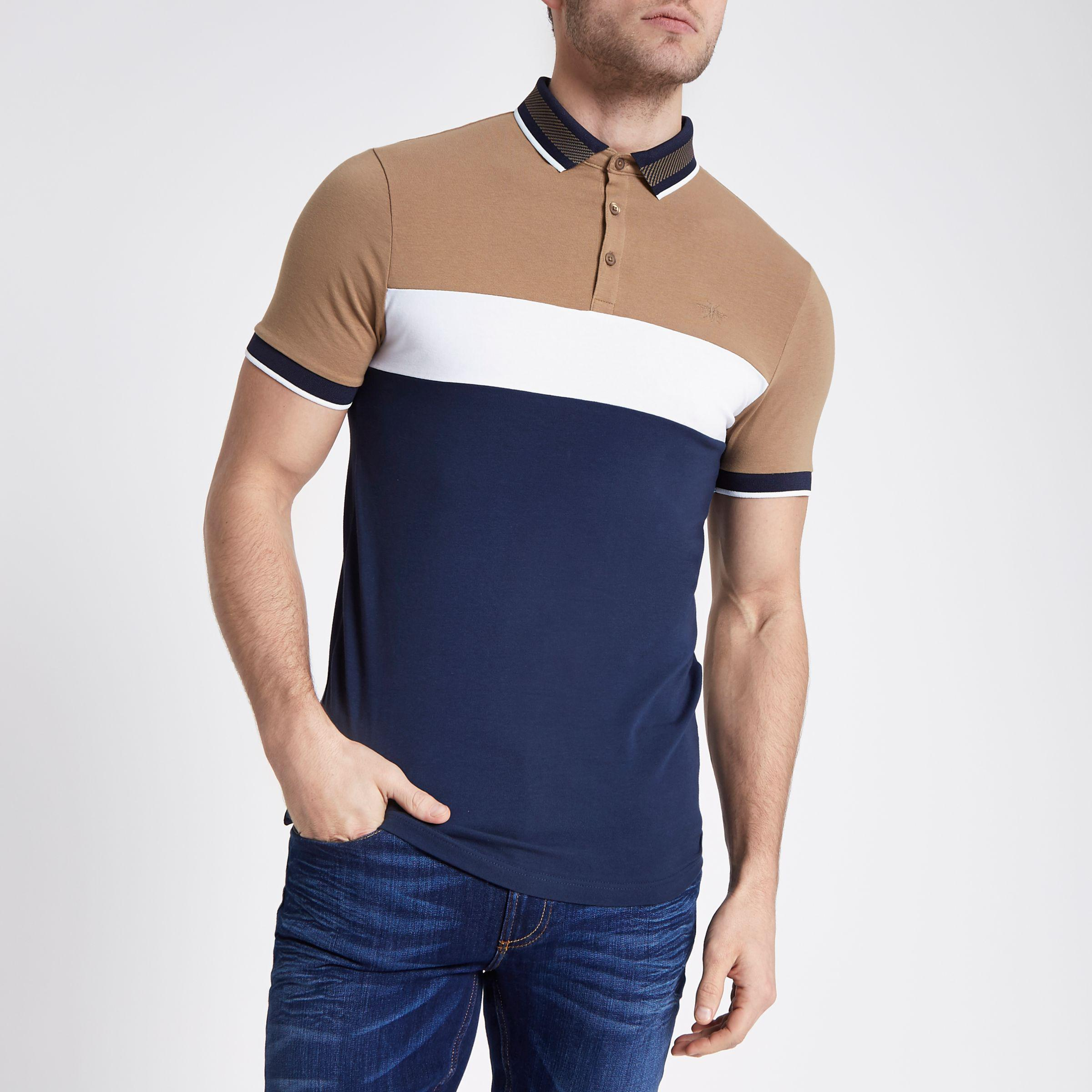 Mens Navy block print muscle fit polo shirt River Island For Cheap Cheap Online EDokx