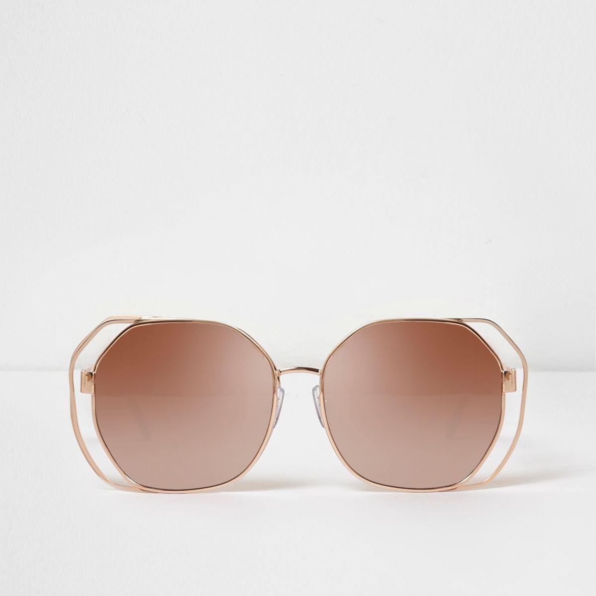 Womens Gold tone mirror lens square visor sunglasses River Island lpmCQ