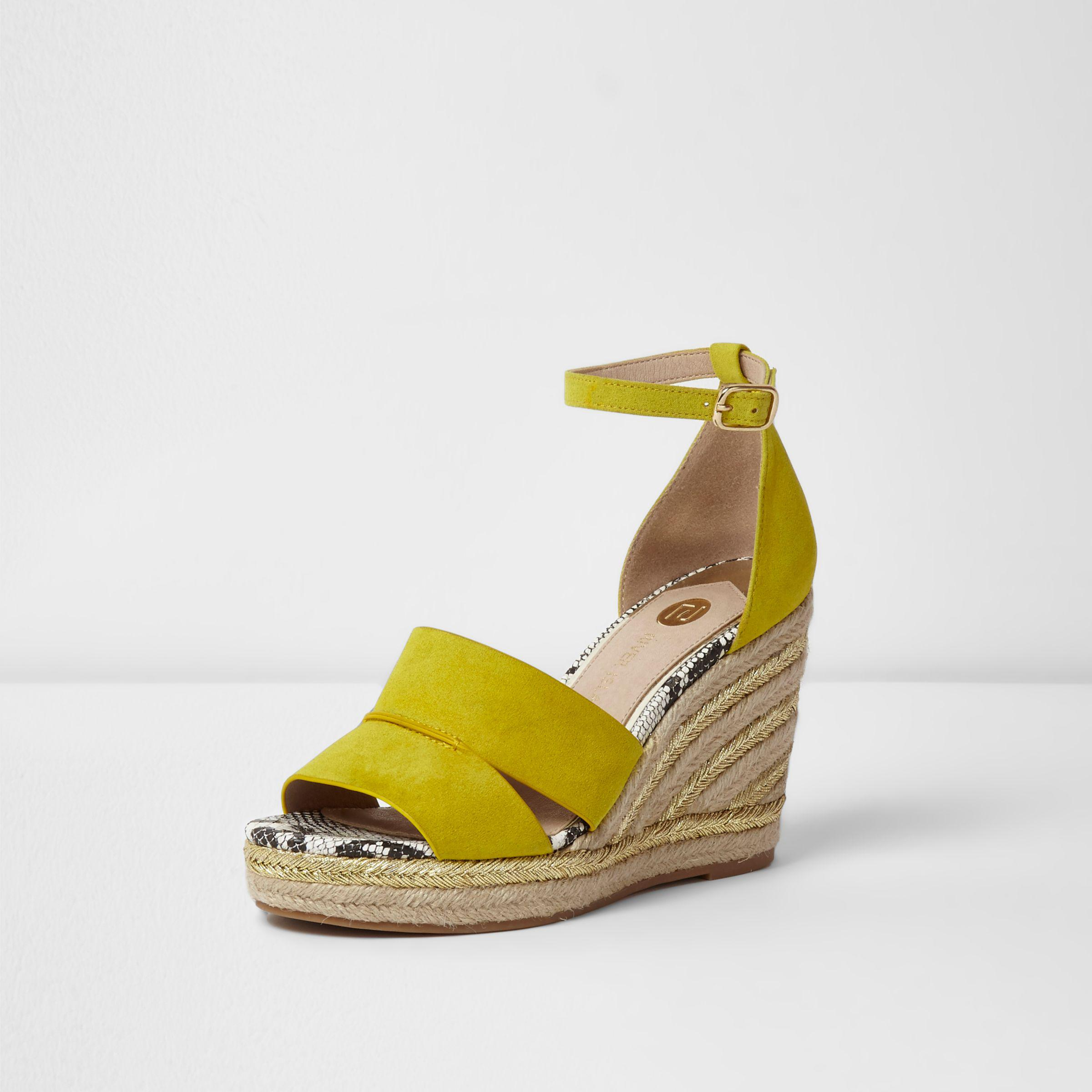 f75ec643d0 River Island Yellow Strappy Espadrille Wedges in Yellow - Lyst