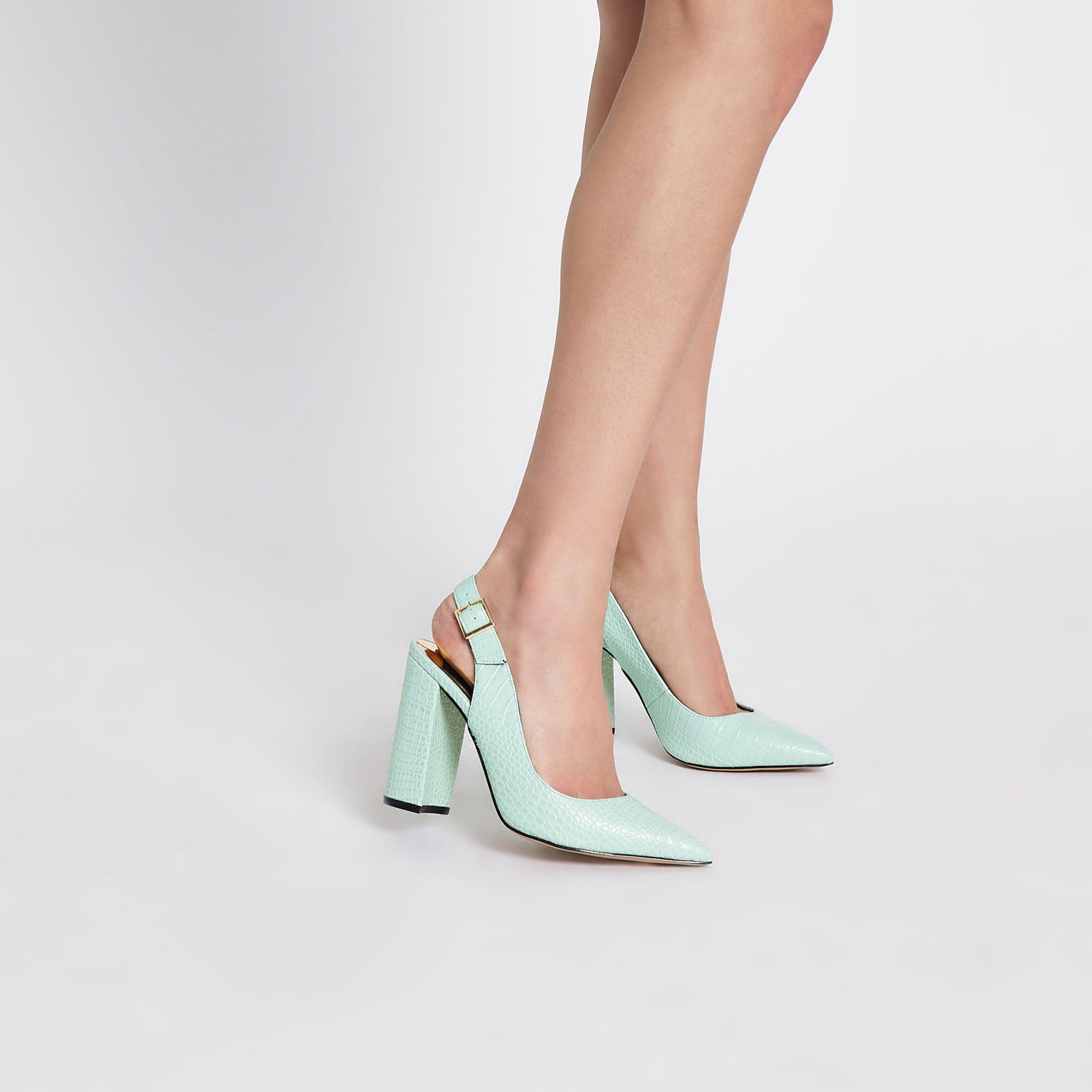 87d2b69d417 River Island Croc Block Heel Sling Back Court Shoes in Green - Lyst