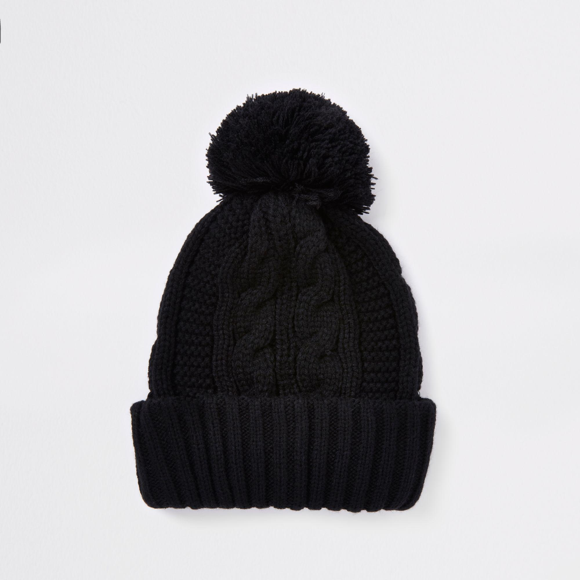 d3f42952466 Lyst - River Island Cable Knit Bobble Beanie Hat in Black for Men