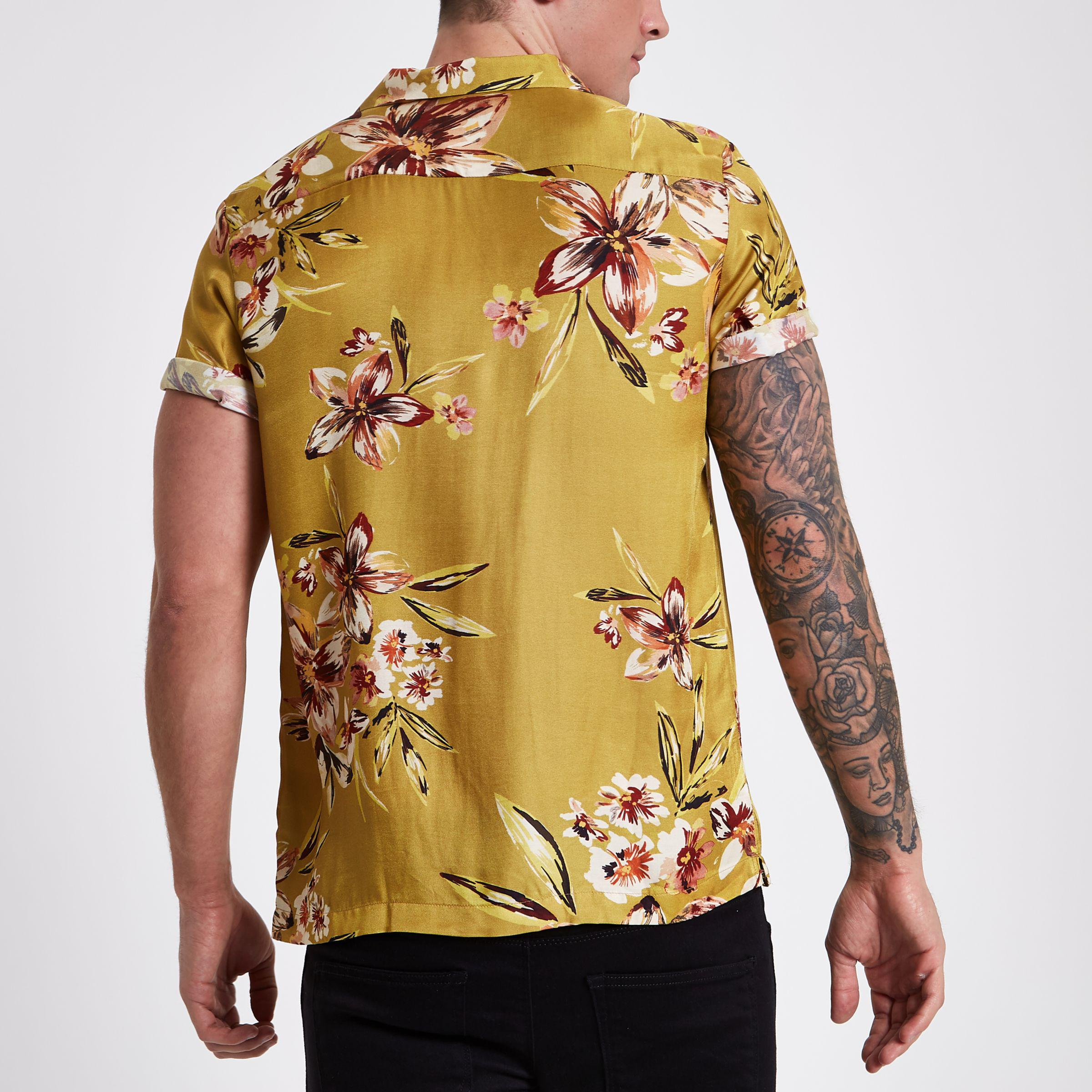76a94cfcdf8 Lyst - River Island Mustard Floral Short Sleeve Shirt in Yellow for Men