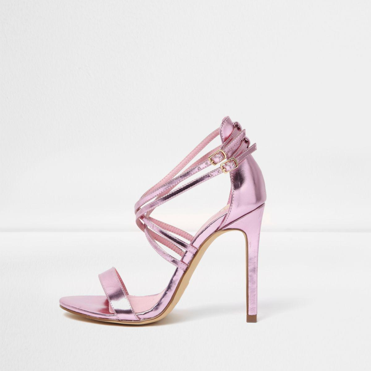 Lyst River Island Pink Metallic Caged Strappy Sandals In