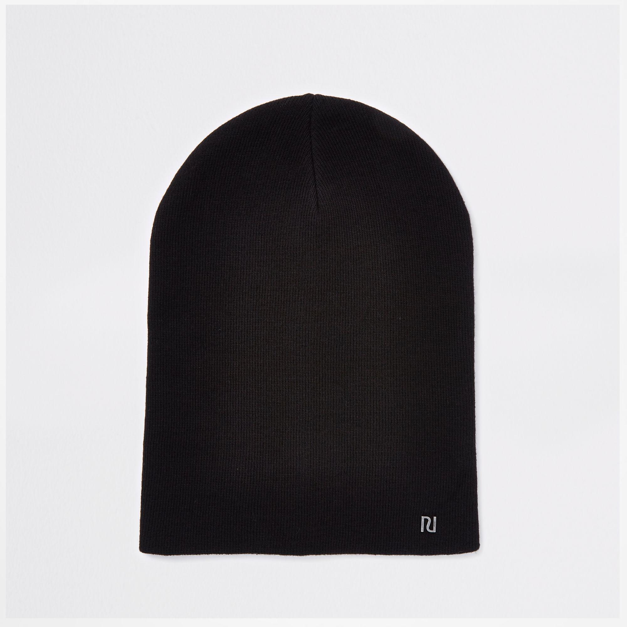 aa9a41542cd River Island Slouch Beanie Ri Hat in Black for Men - Lyst
