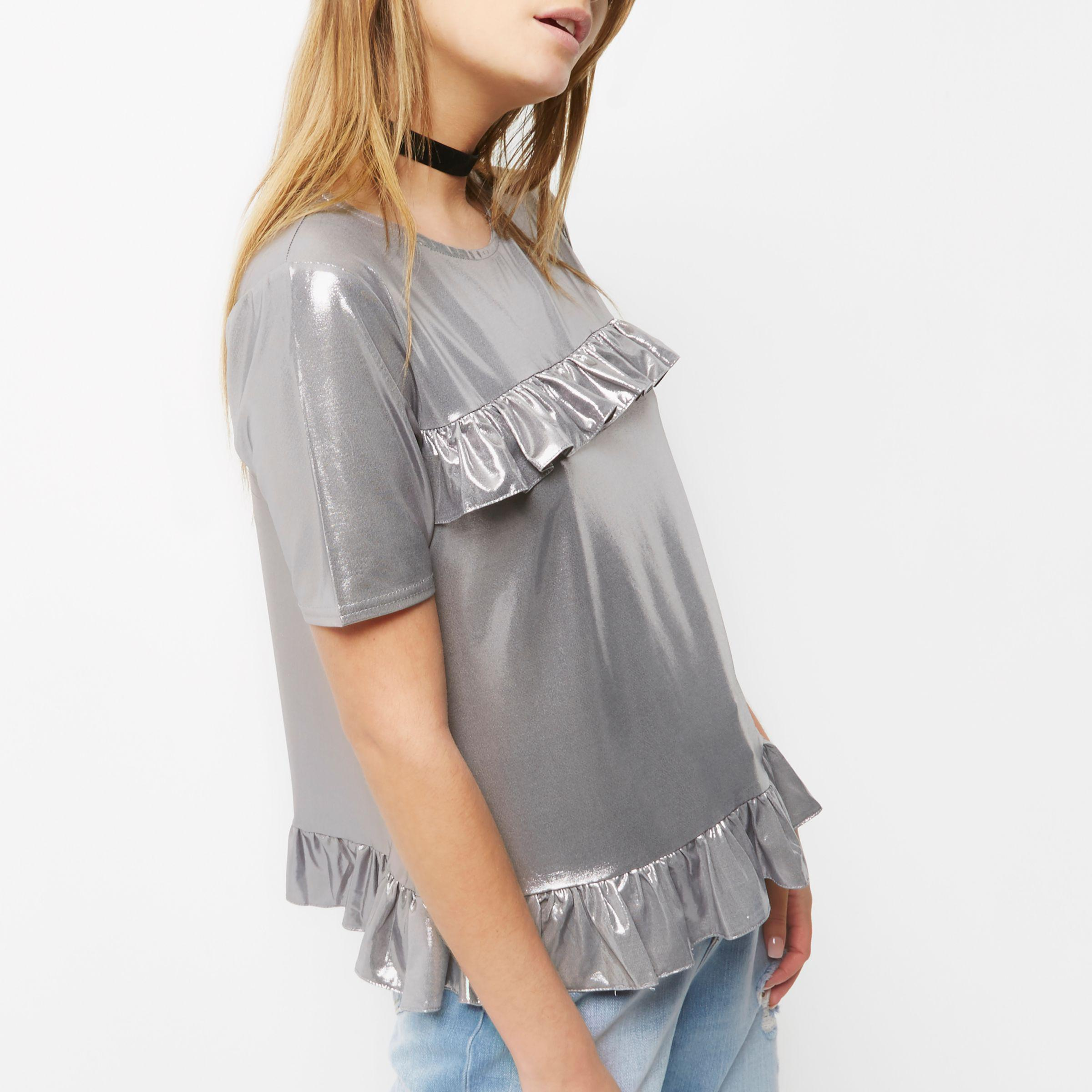 24356127e24 Lyst - River Island Silver Metallic Frill Front T-shirt in Metallic