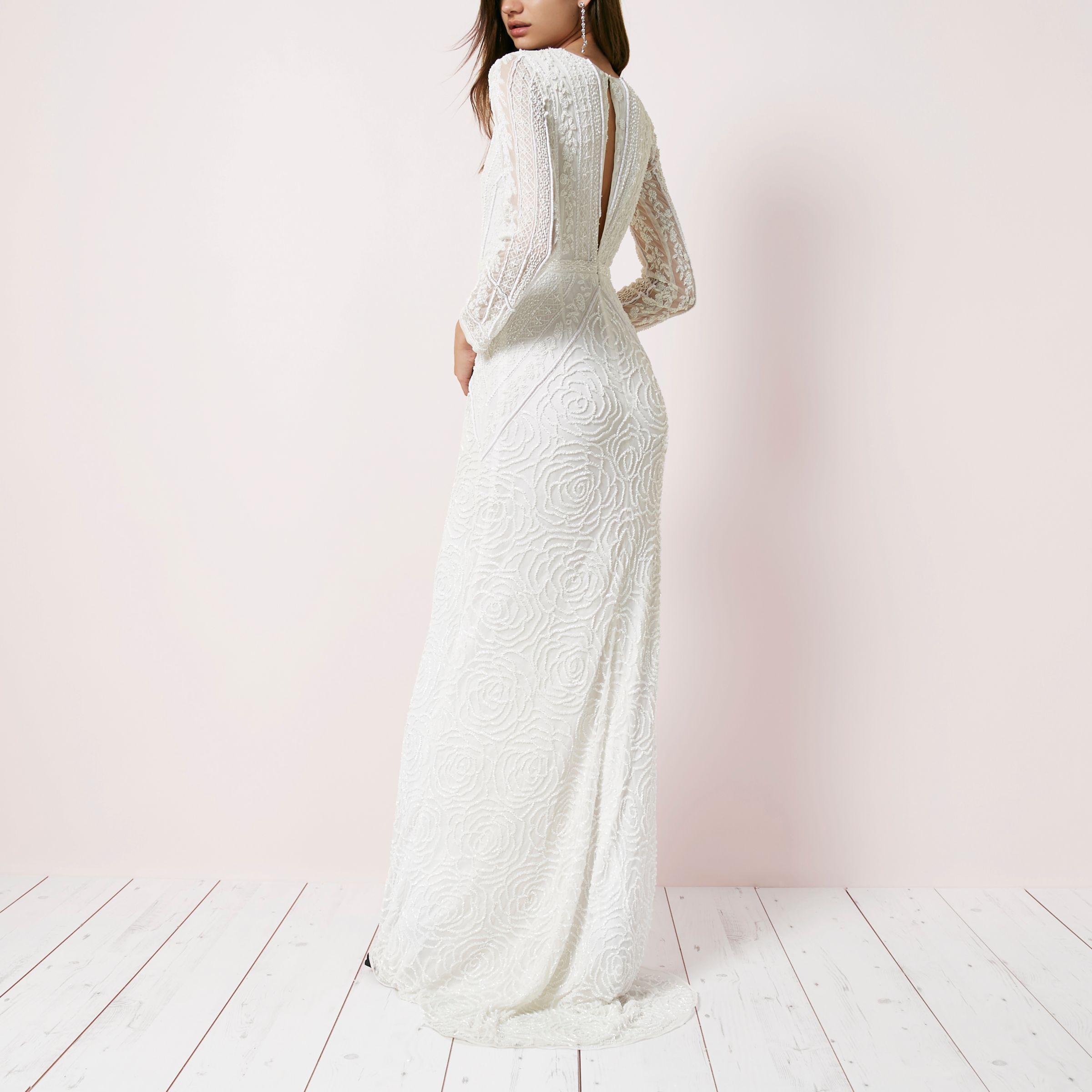 dfc1a84a403a6 River Island Cream Sequin Long Sleeve Maxi Dress in Natural - Lyst