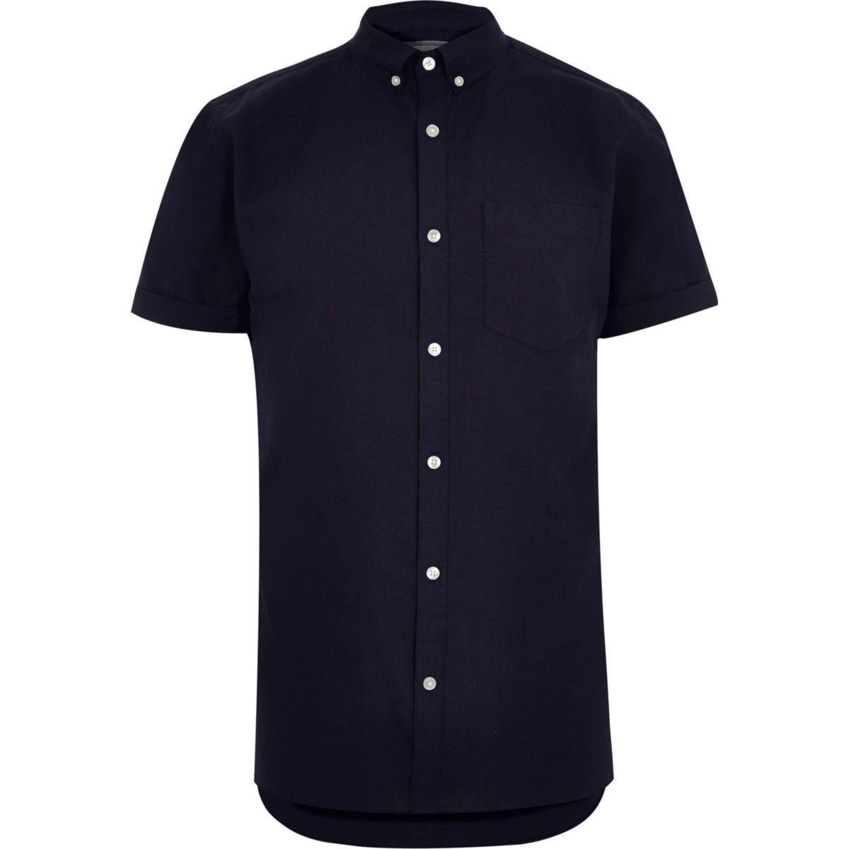 Lyst river island big and tall navy short sleeve oxford for Navy short sleeve shirt