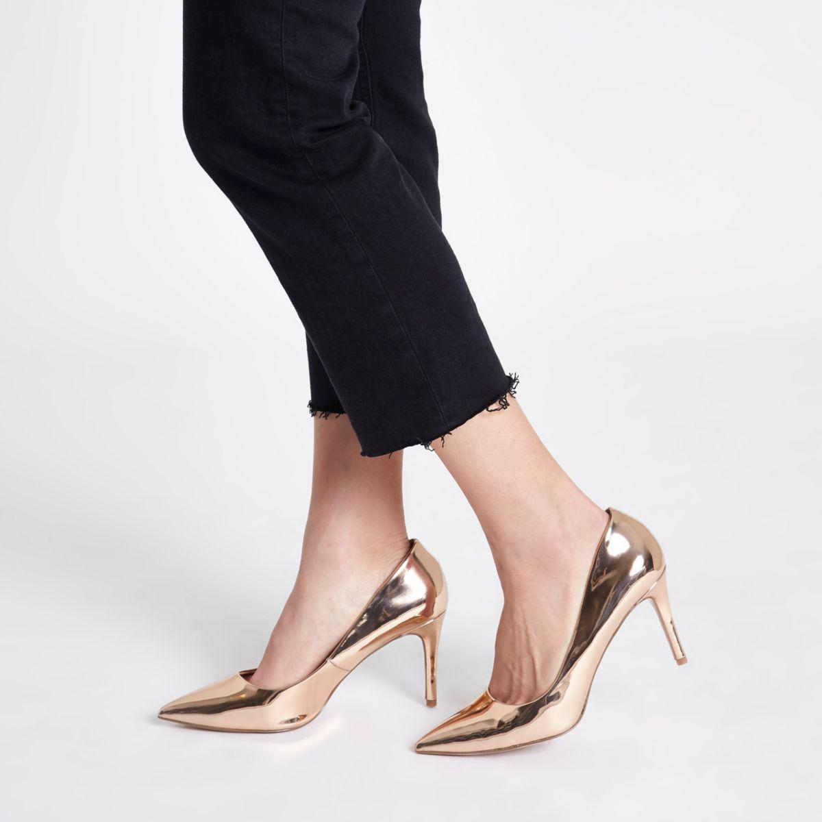 5b310f8899920 Lyst - River Island Rose Gold Metallic Mid Heel Court Shoes Rose ...