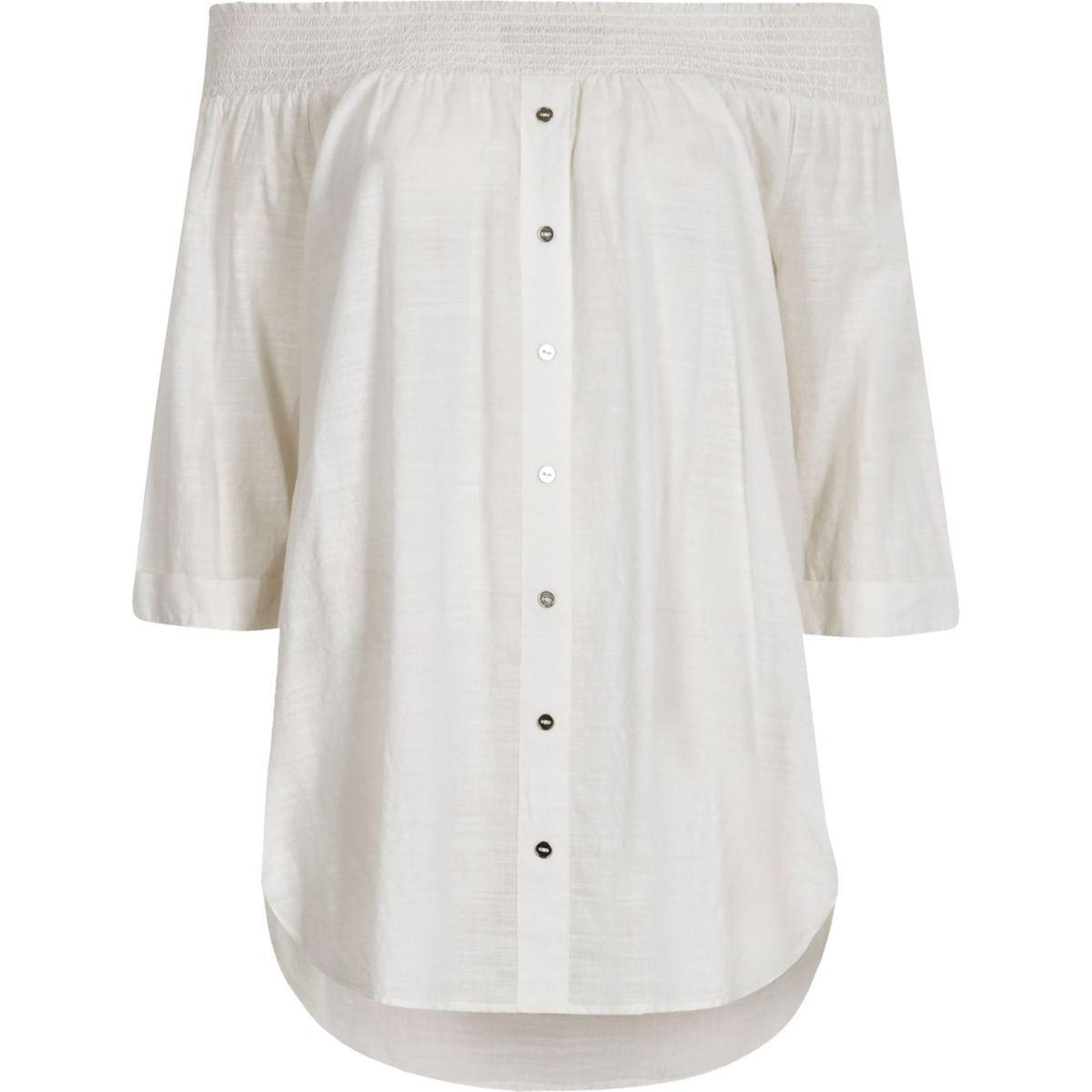 f8cdfe8aed5cf Lyst - River Island White Shirred Bardot Shirt White Shirred Bardot ...