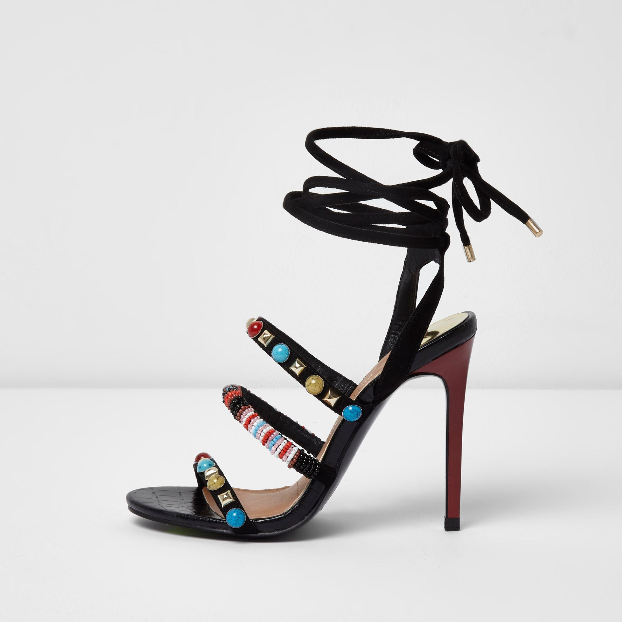 dd25e8eefe2b21 Lyst - River Island Black Beaded Tie-up Barely There Sandals in Black