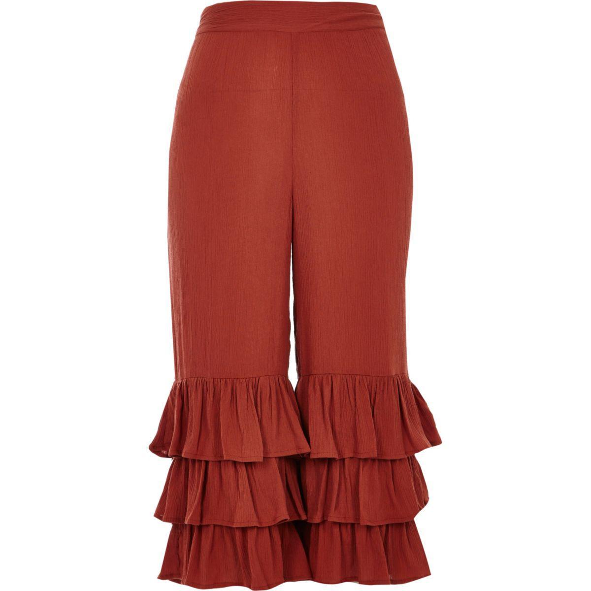 Womens Petite rust Red frill hem trousers River Island IJFG2kxAl