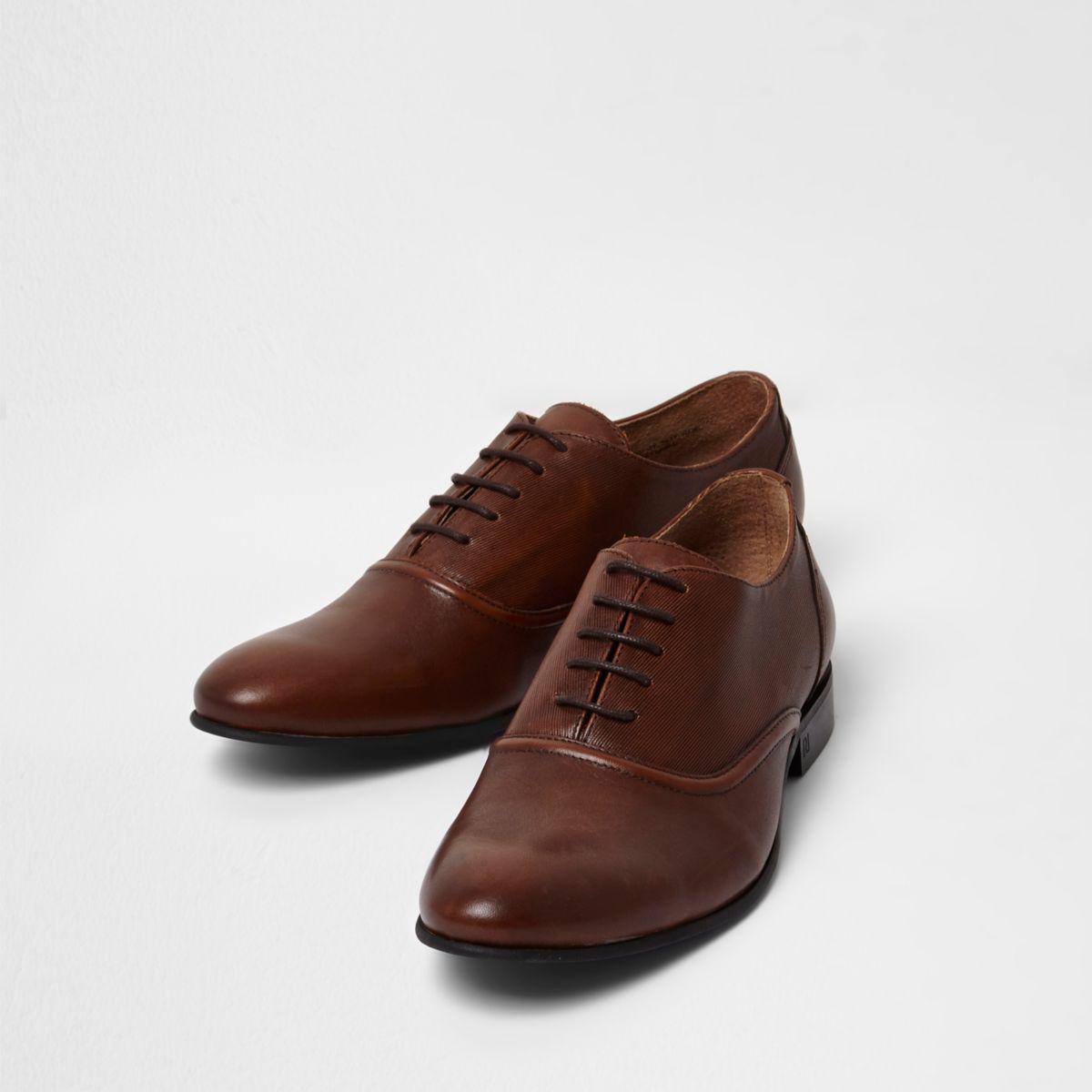 Mens Tan leather toecap lace-up oxford shoes River Island Uze75Jektz
