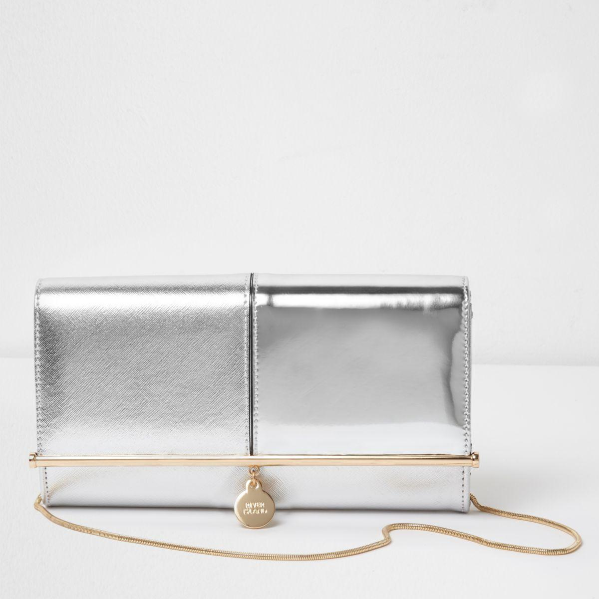 01a4c9741 River Island Silver Metallic Bar Top Charm Clutch Bag Silver ...