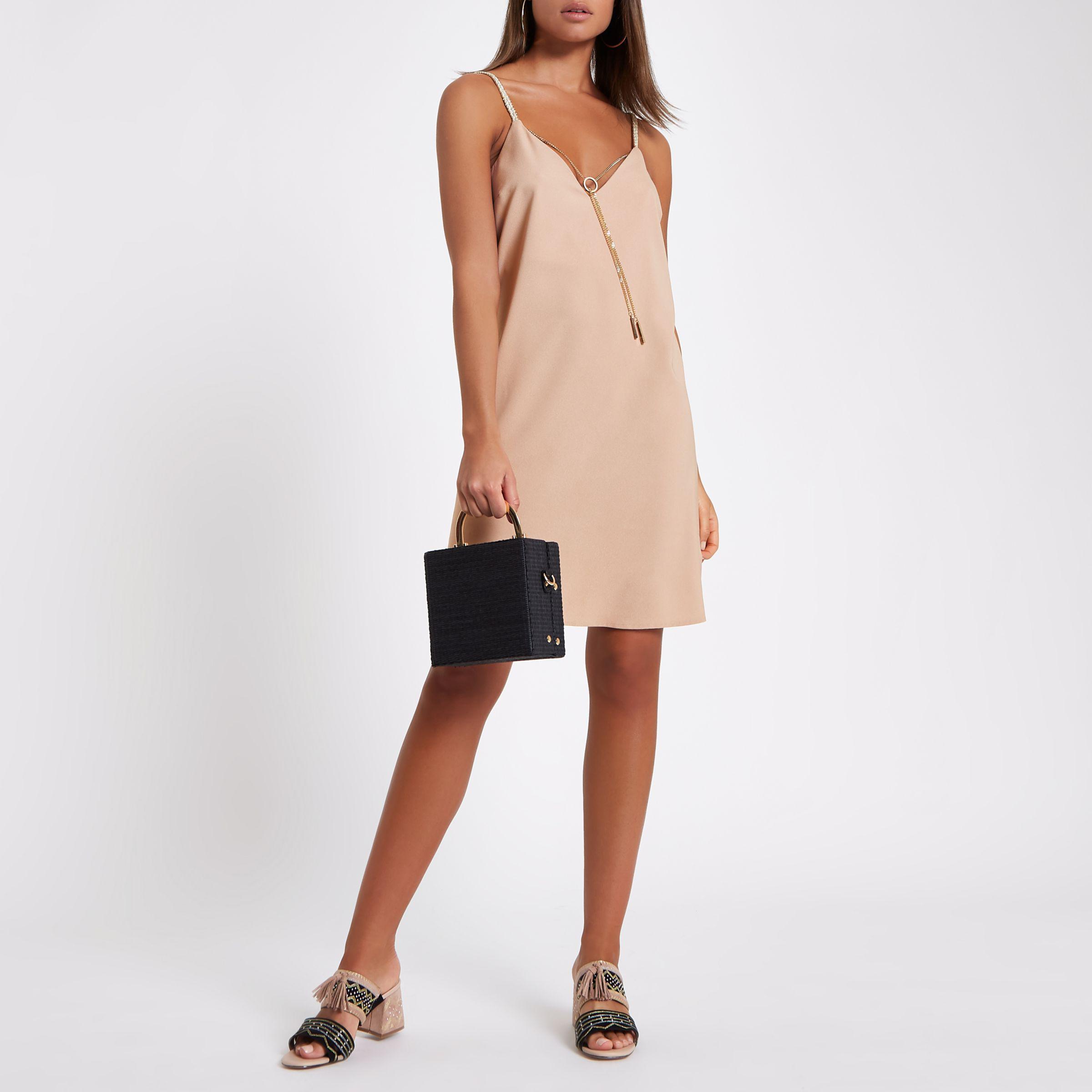 Enjoy Cheap Online Free Shipping New Arrival Womens Grey slip dress with detachable chain River Island Sale Amazon Discount Visit New Buy Cheap Pre Order AIzT3SqHJj