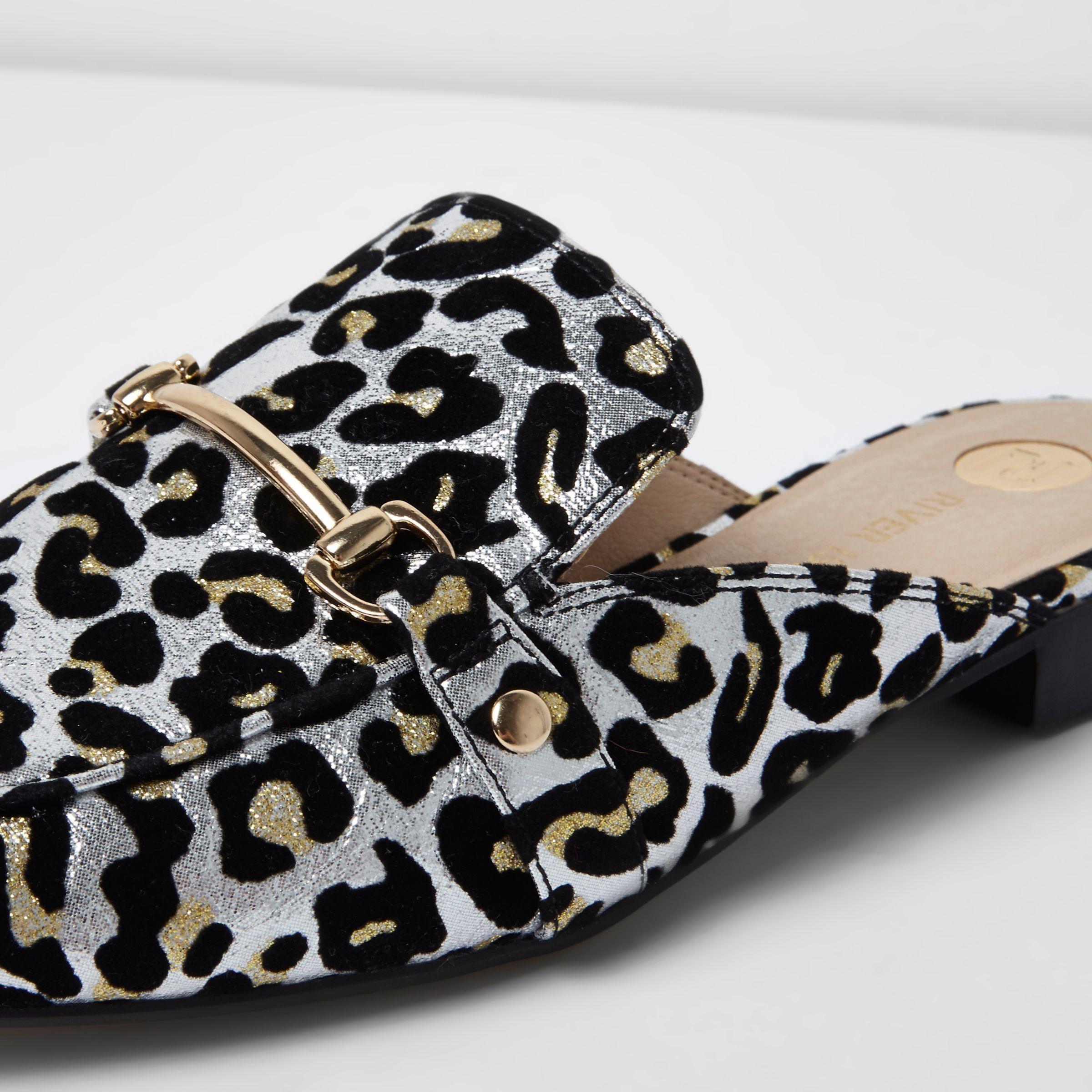 431fb7404ecd River Island Silver Leopard Print Backless Loafers in Gray - Lyst