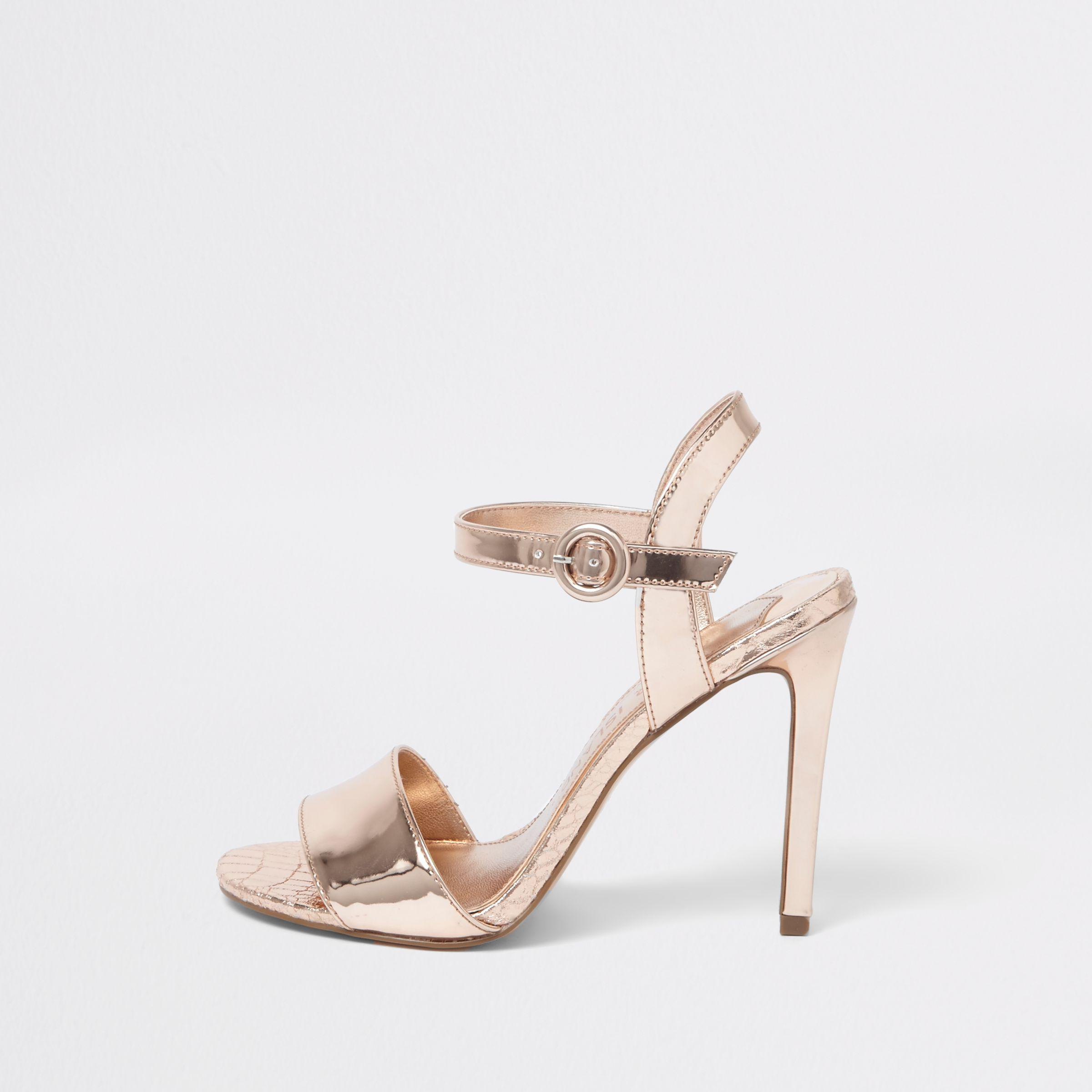 432d9dd4581 River Island. Women s Yellow Rose Gold Wide Fit Metallic Two Part Sandals