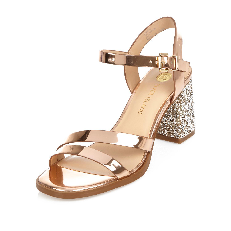 a4975fbc87e Lyst - River Island Rose Gold Glitter Block Heel Sandals
