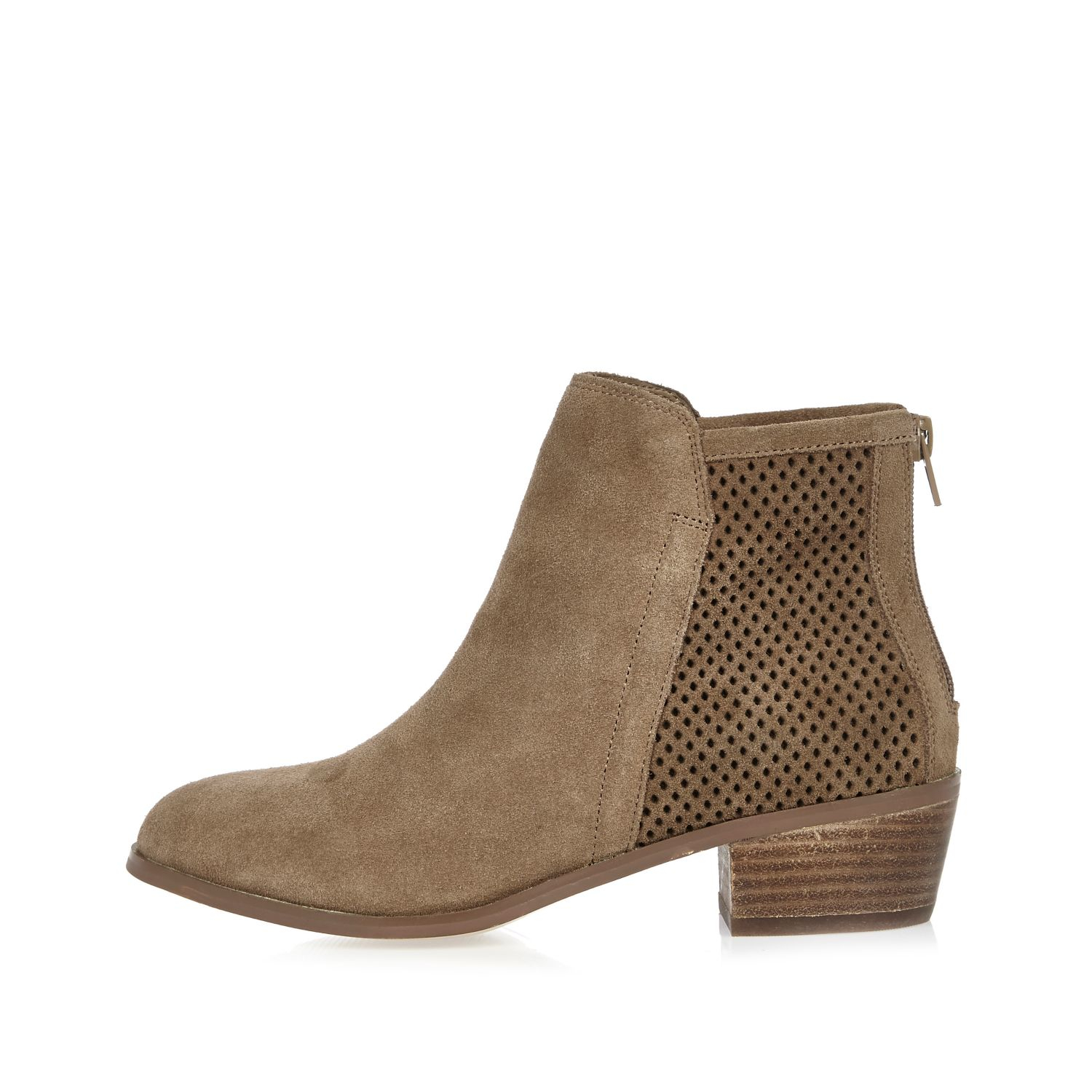 river island beige perforated suede ankle boots in natural lyst. Black Bedroom Furniture Sets. Home Design Ideas