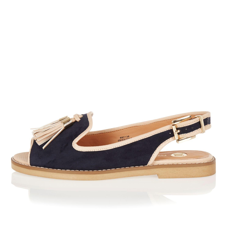 071d71b2d0 River Island Navy Peep Toe Slingback Sandals in Blue - Lyst