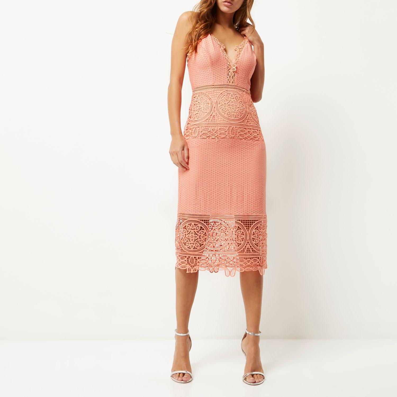 River Island Pink Sleeveless Lace Bodycon Dress
