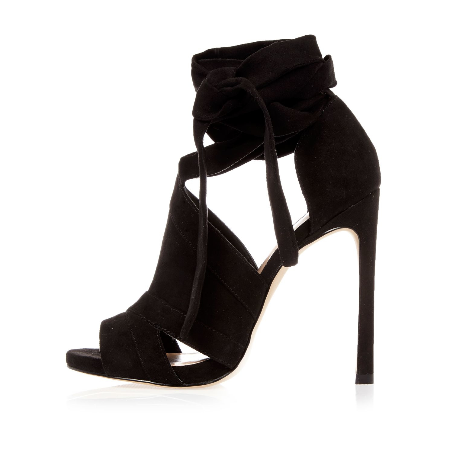 Lyst River Island Black Cut Out Heel Shoe Boots In Black