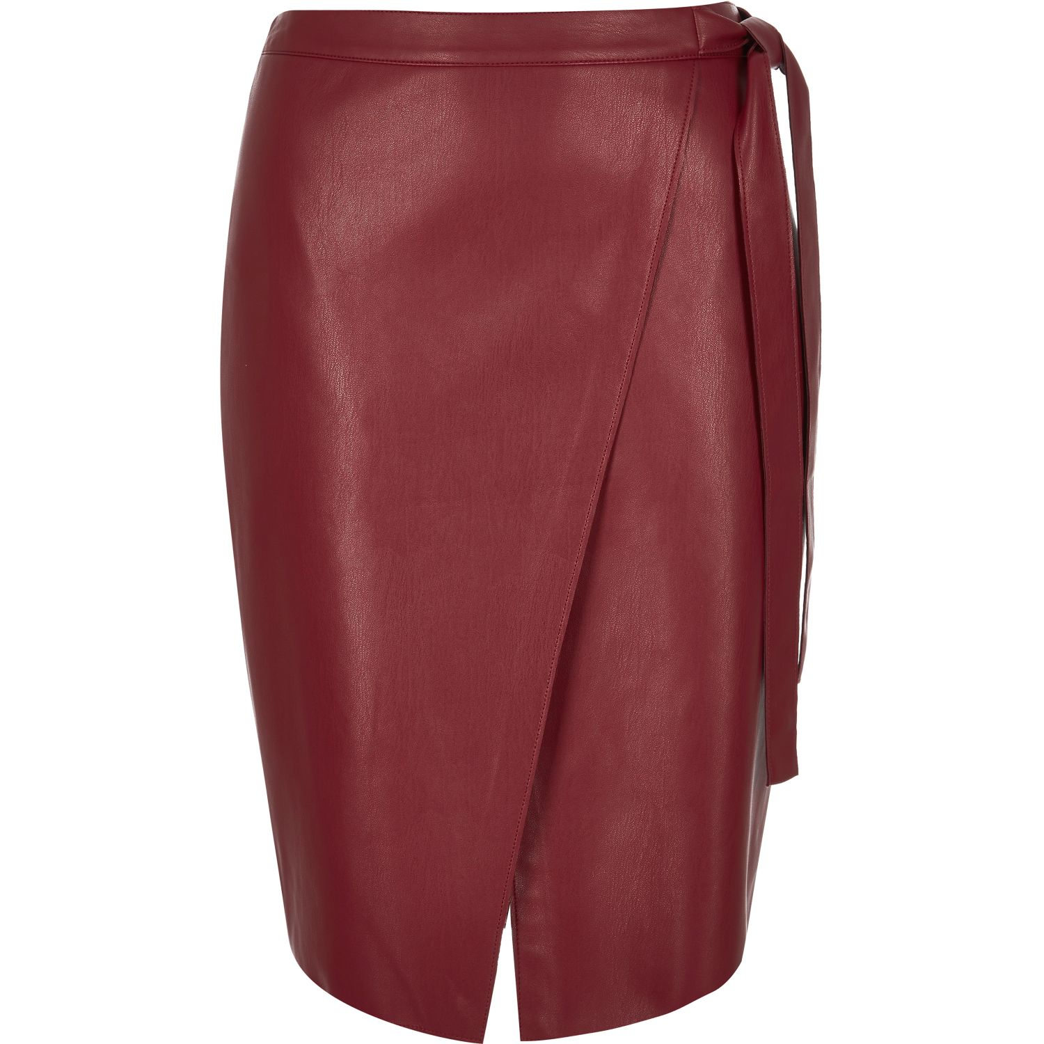 river island leather look wrap midi skirt in lyst
