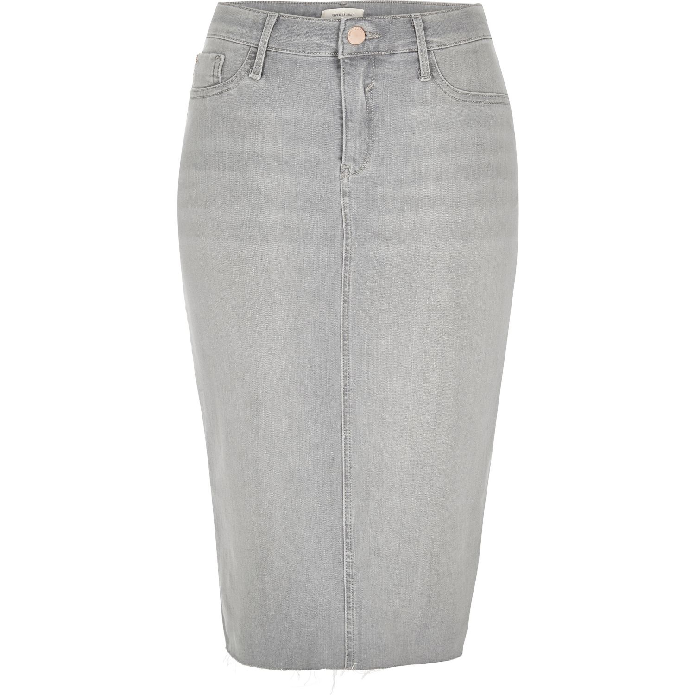 river island light grey wash denim pencil skirt in gray lyst