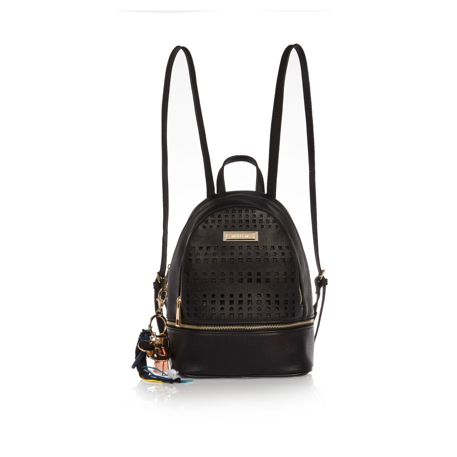 59c7e96412 Lyst - River Island Laser-Cut Faux-Leather Backpack in Black