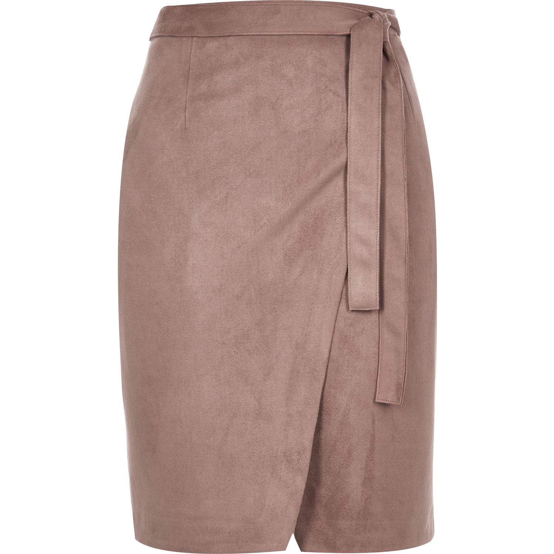 River island Dark Pink Faux Suede Wrap Skirt in Blue | Lyst