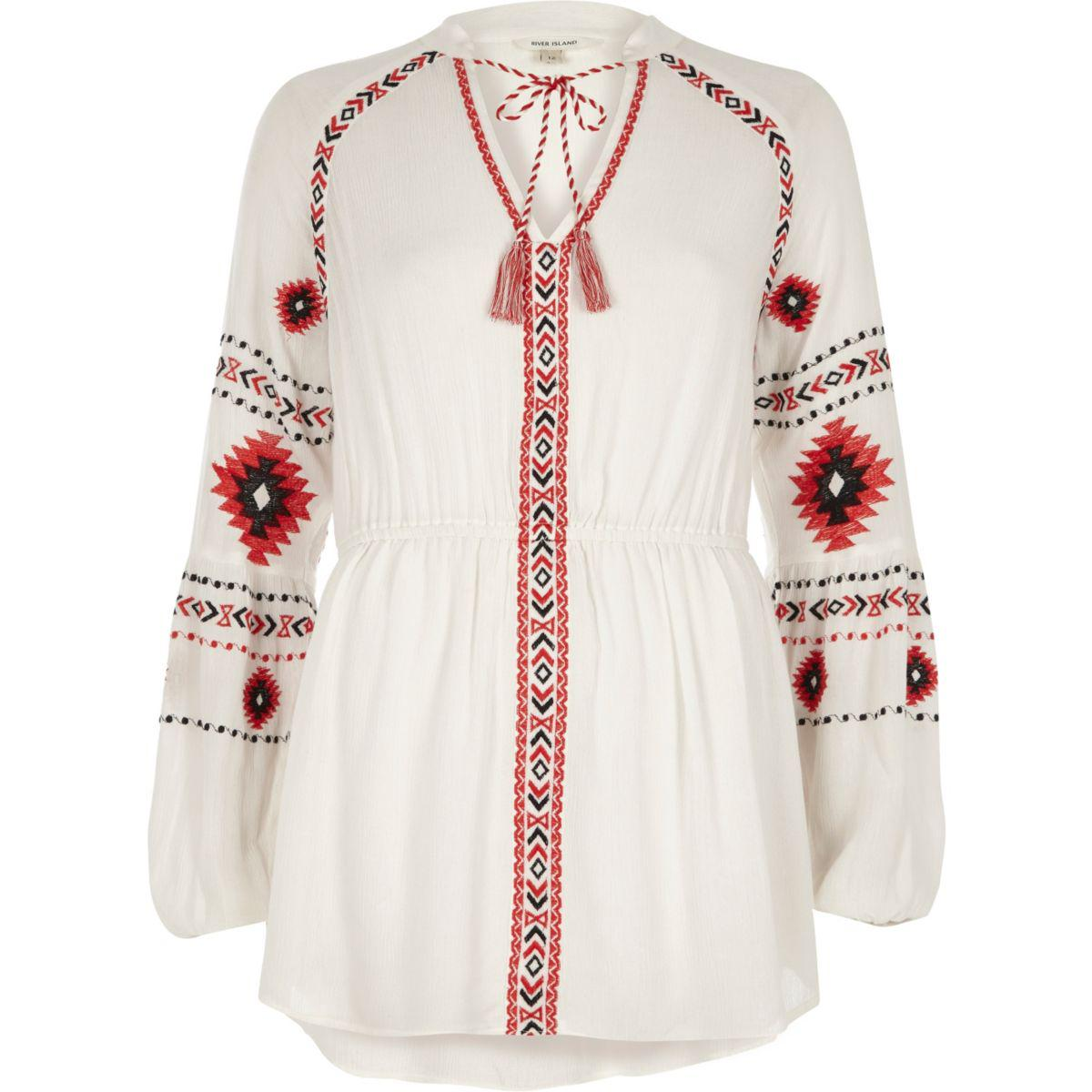 River Island White Embroidered Top