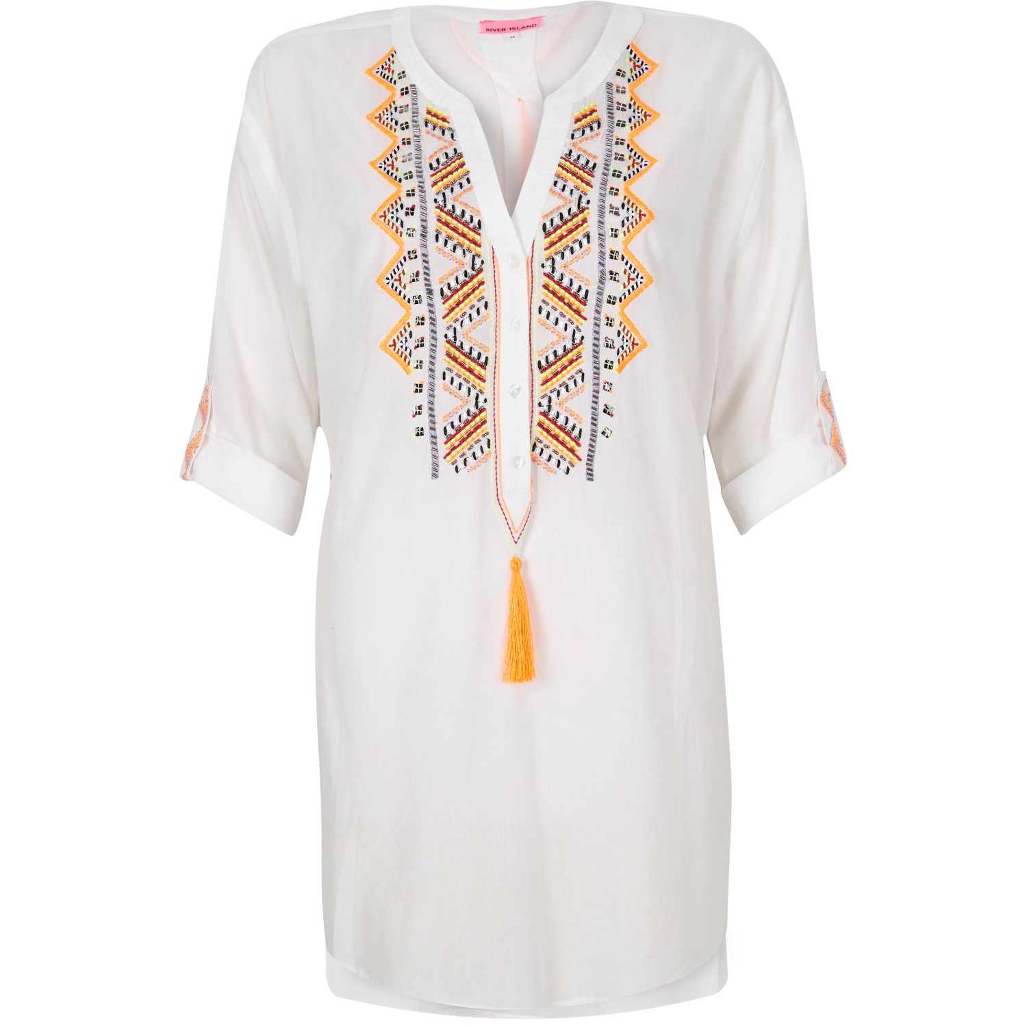 Lyst River Island White Embroidered Beach Shirt In White