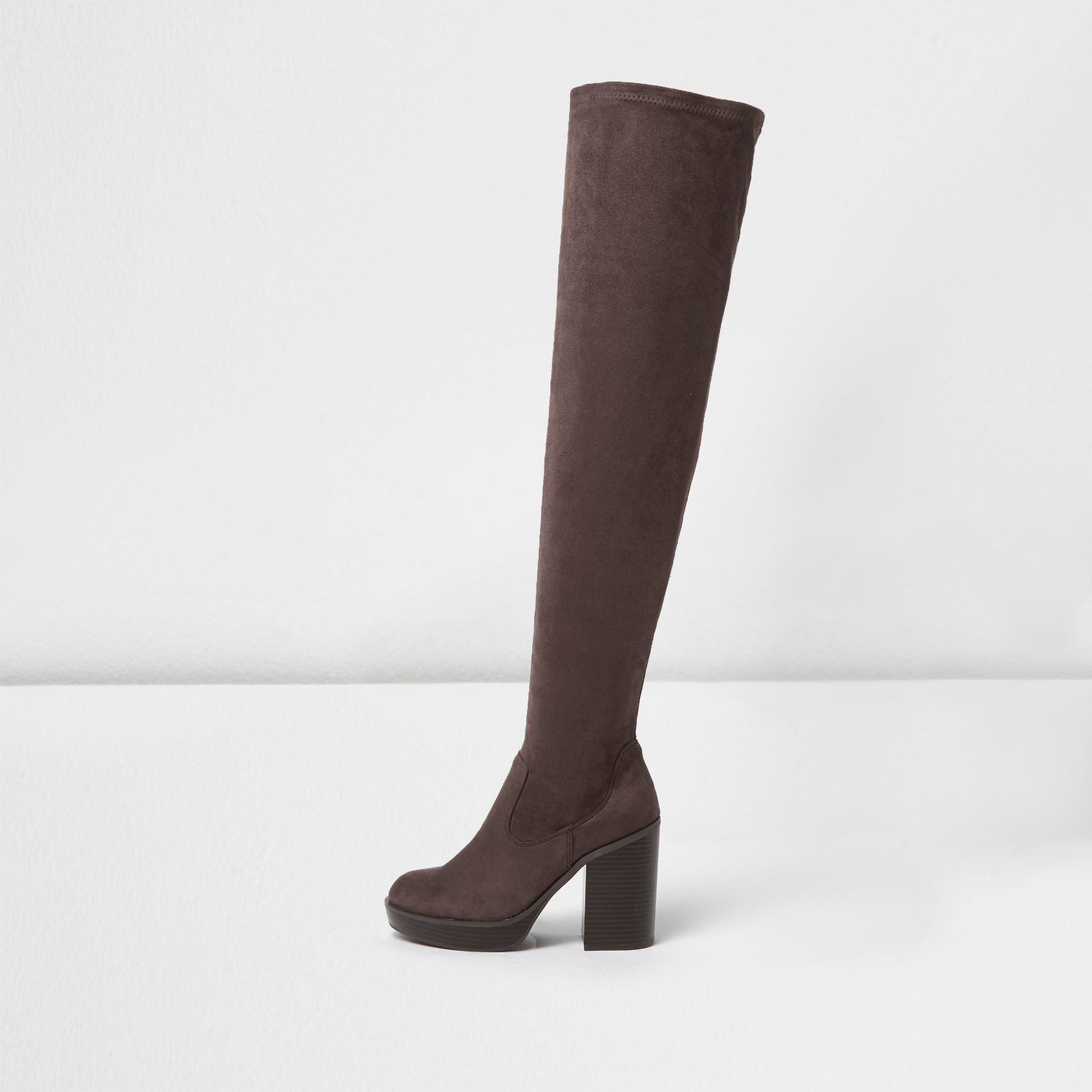Black Leather Over The Knee Boots River Island