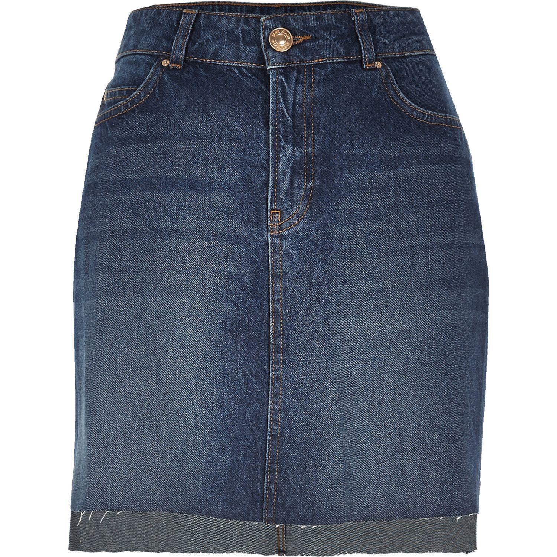 river island mid blue wash a line denim skirt in blue lyst