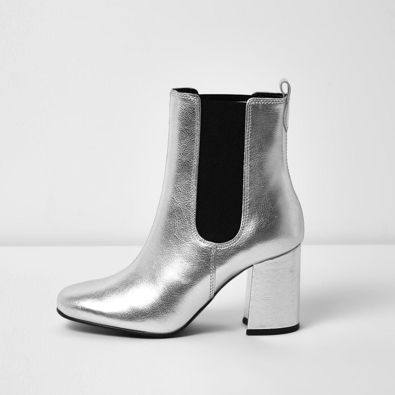 Lyst River Island Silver Leather Block Heel Ankle Boots In Metallic