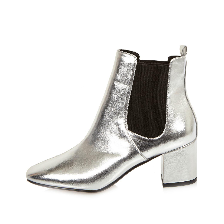 River Island Silver Block Heel Chelsea Boots In Gray Lyst