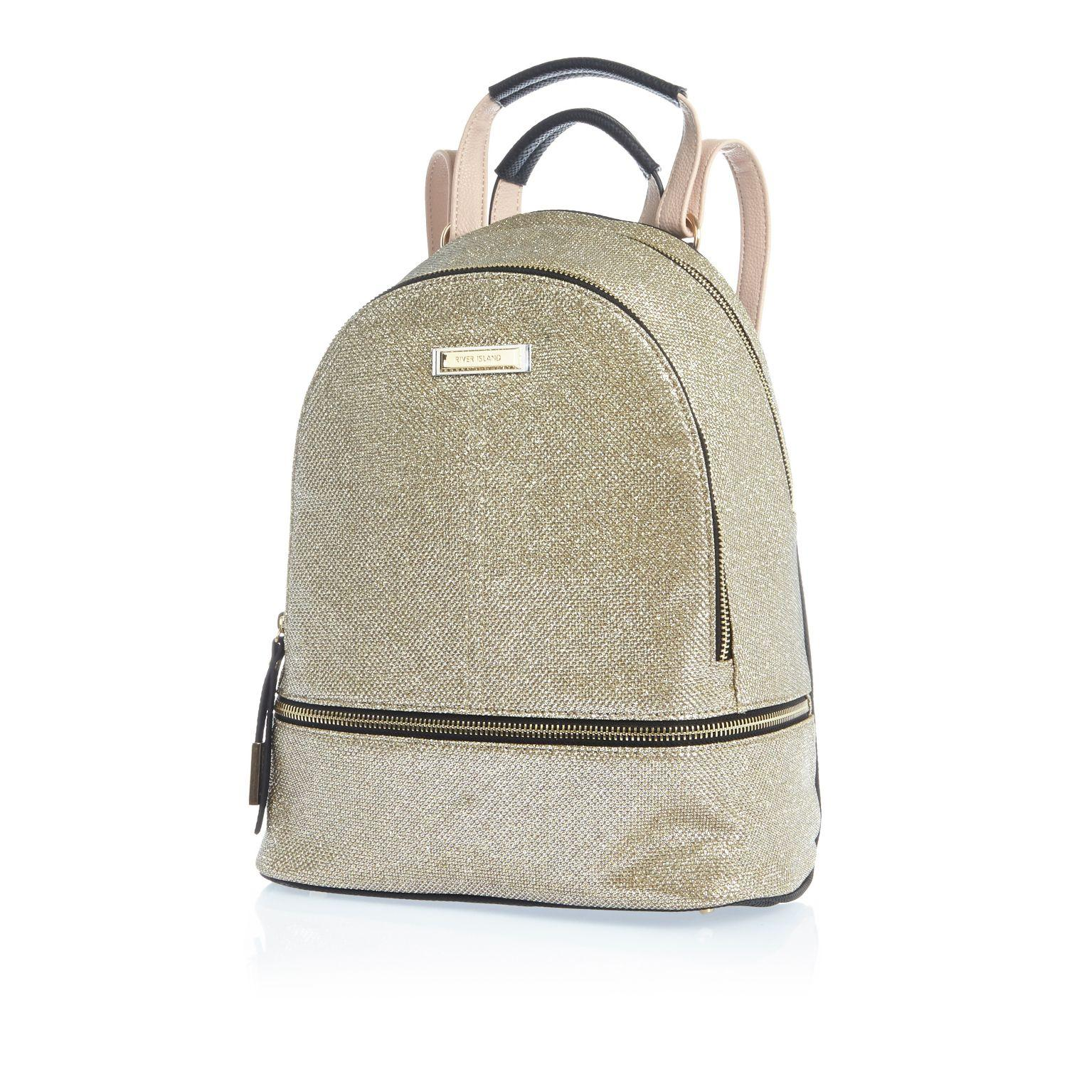 River Island Gold Glitter Backpack In Metallic Lyst