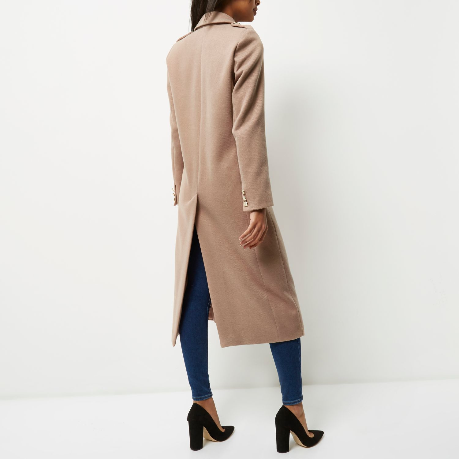 River island Light Pink Double-breasted Military Coat in Blue | Lyst